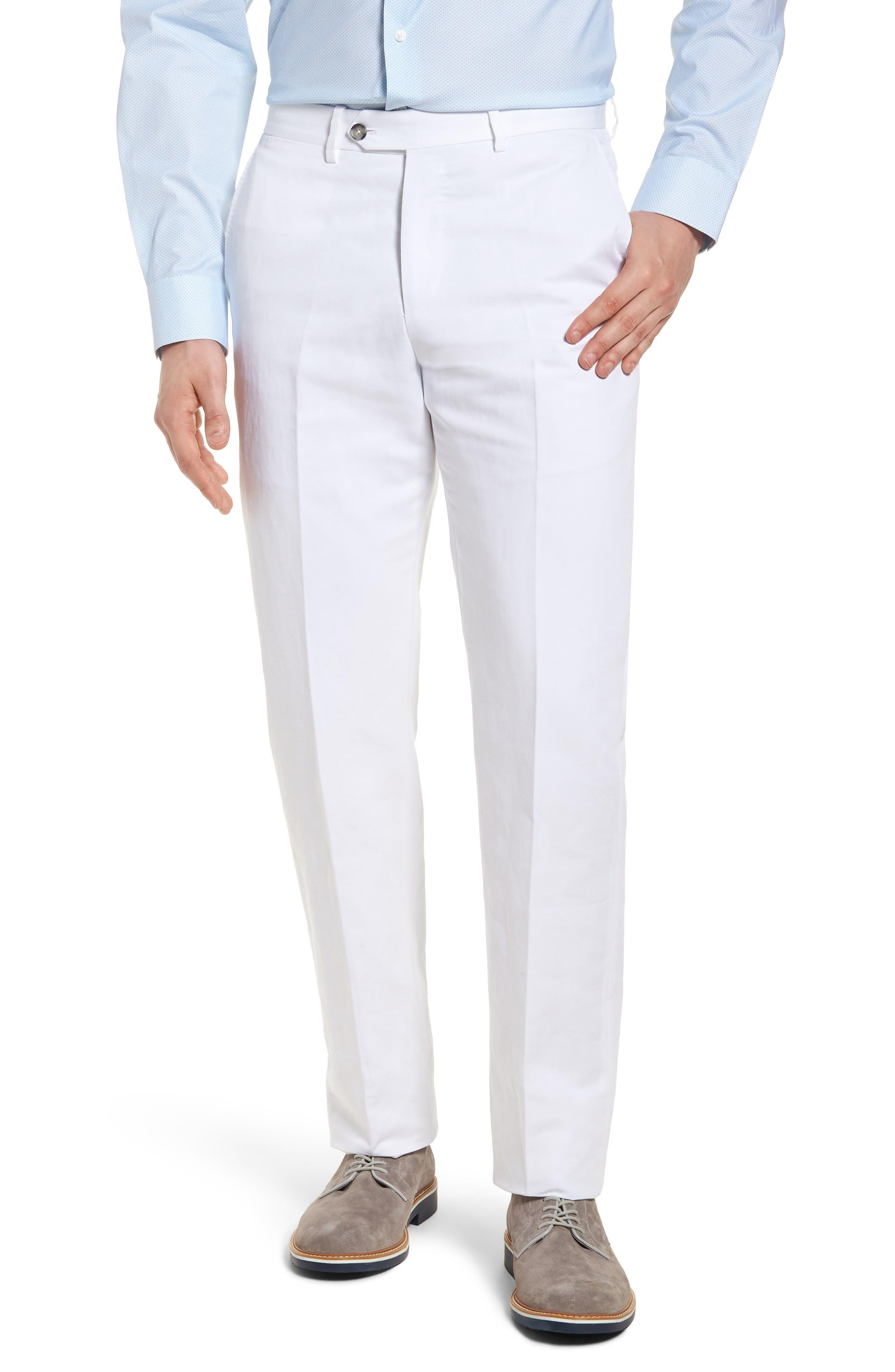 Flat Front Solid Cotton & Linen Trousers,                             Main thumbnail 2, color,