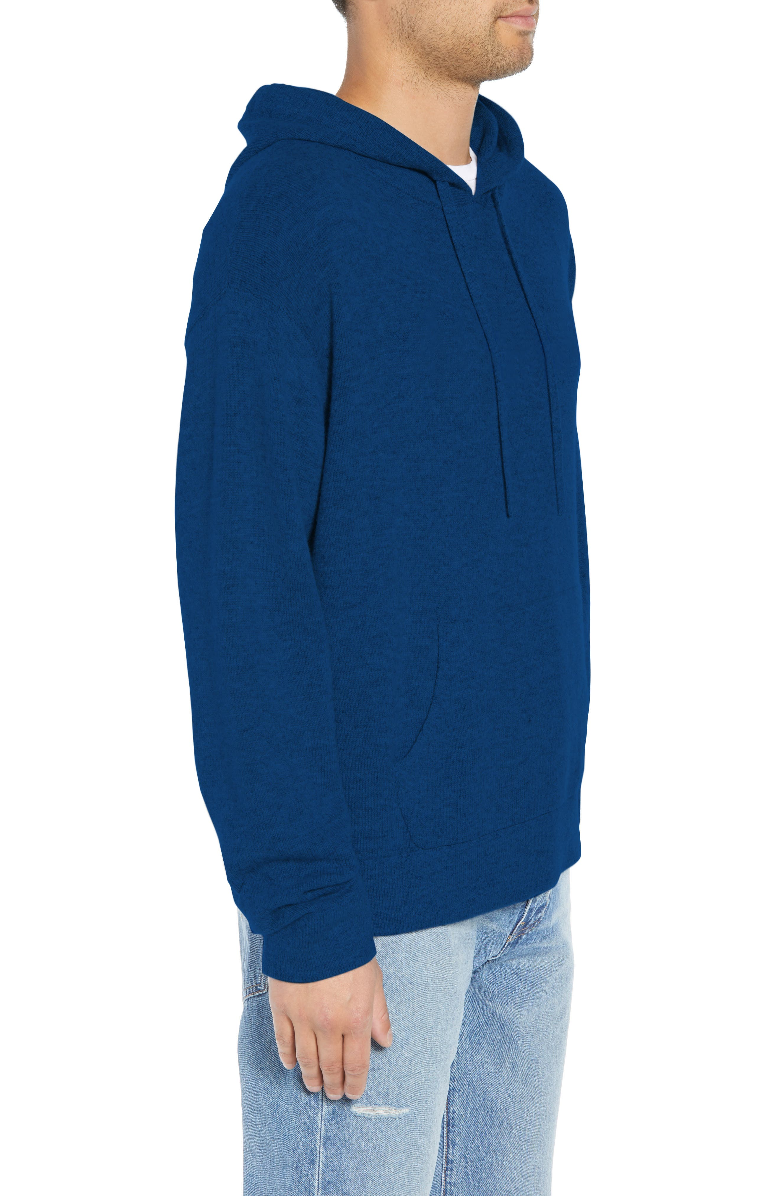 Classic Fit Hoodie Sweater,                             Alternate thumbnail 3, color,                             NAVY