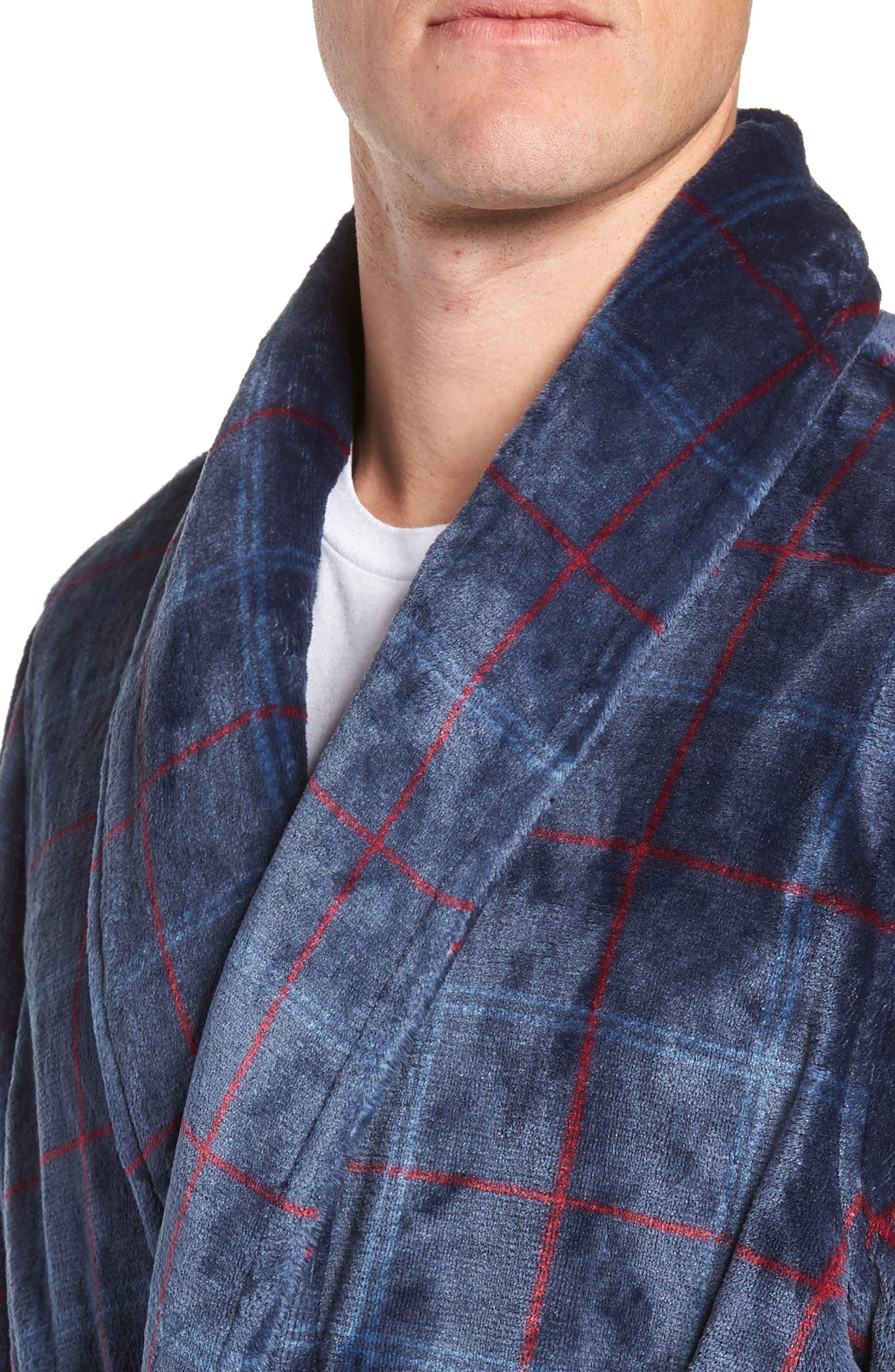 Windowpane Fleece Robe,                             Alternate thumbnail 4, color,                             NAVY -RED WINDOWPANE