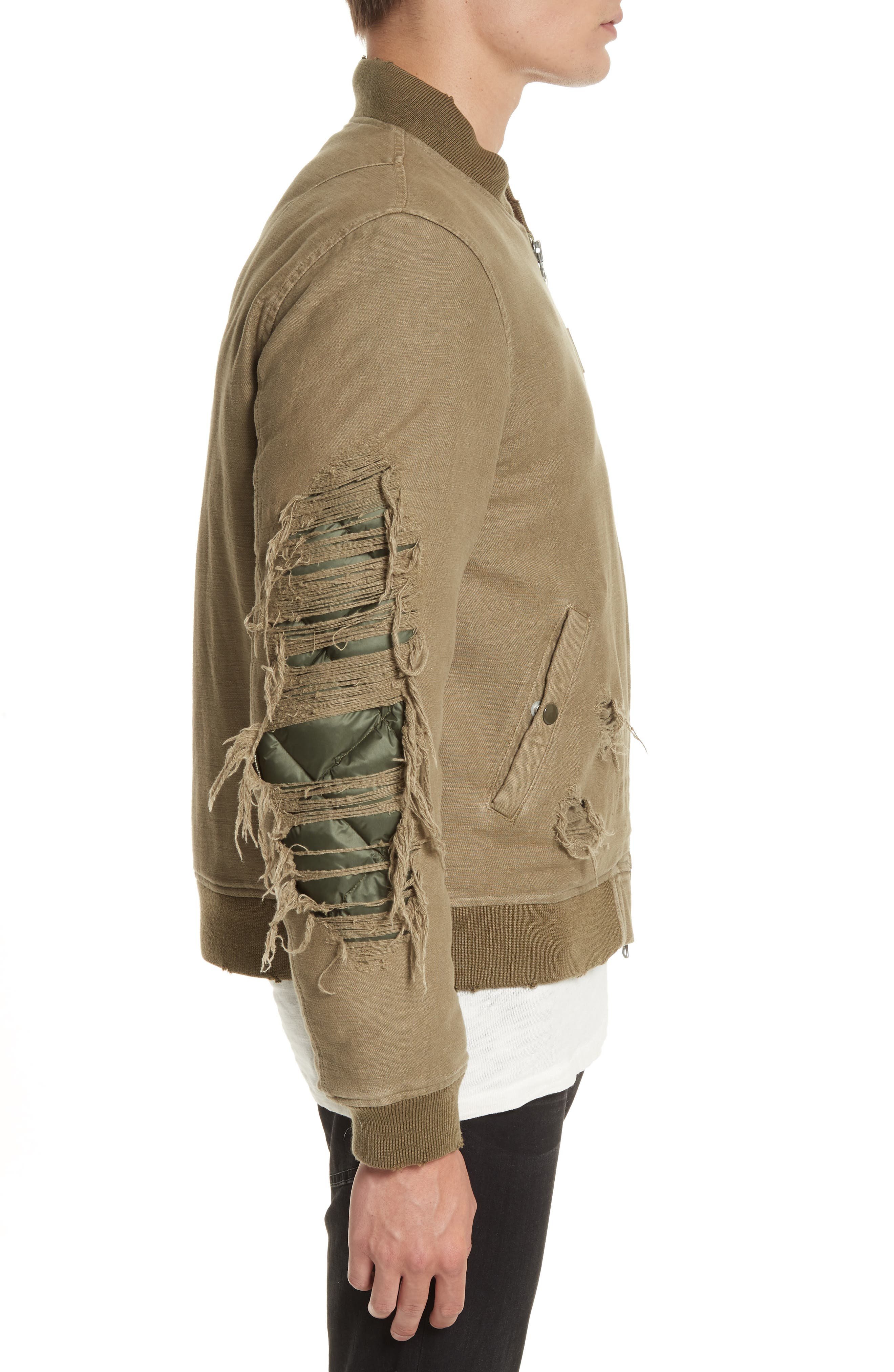 Ripped Canvas Bomber,                             Alternate thumbnail 3, color,                             301