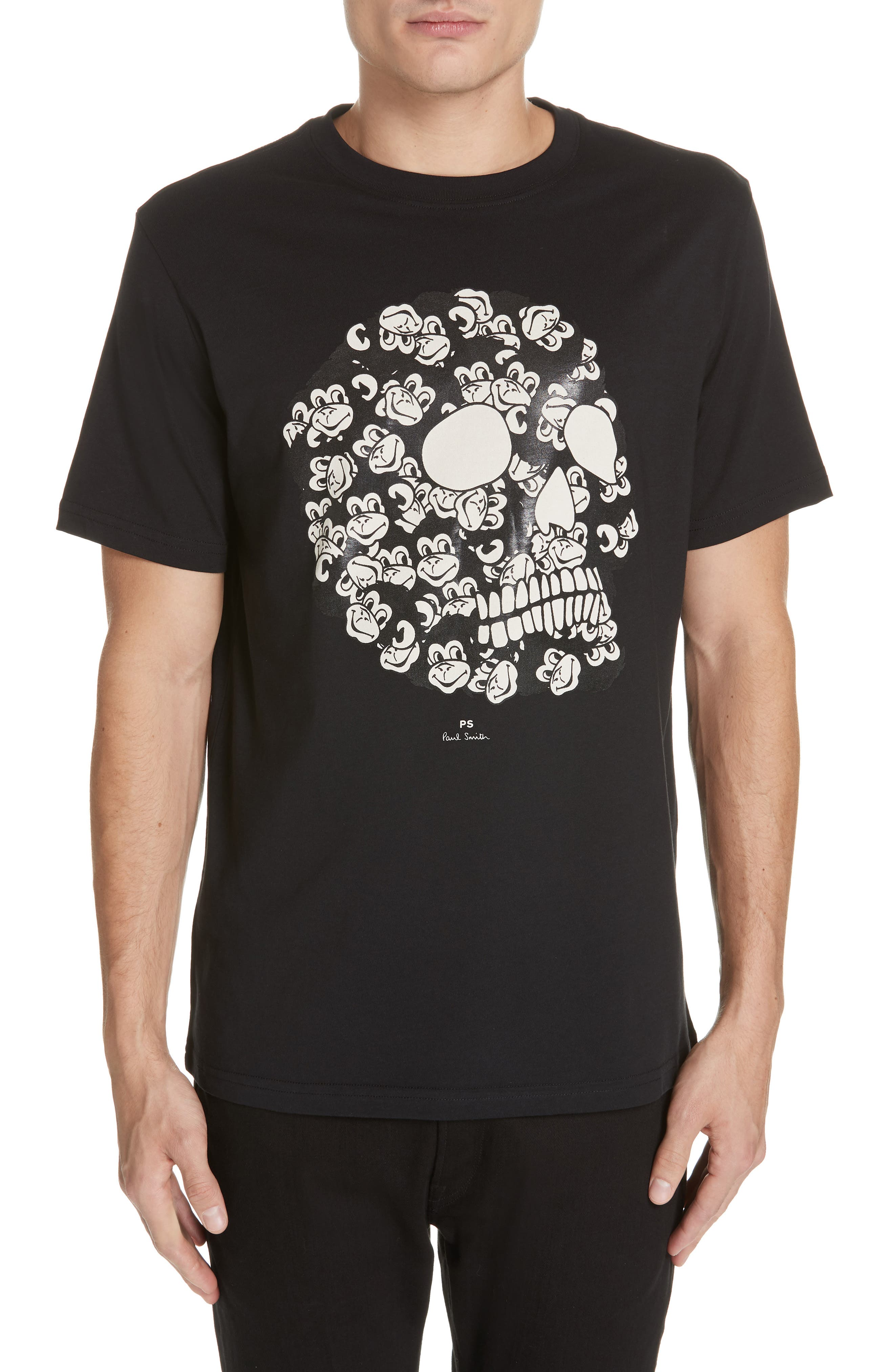 Monkey Skull Graphic T-Shirt,                         Main,                         color, BLACK
