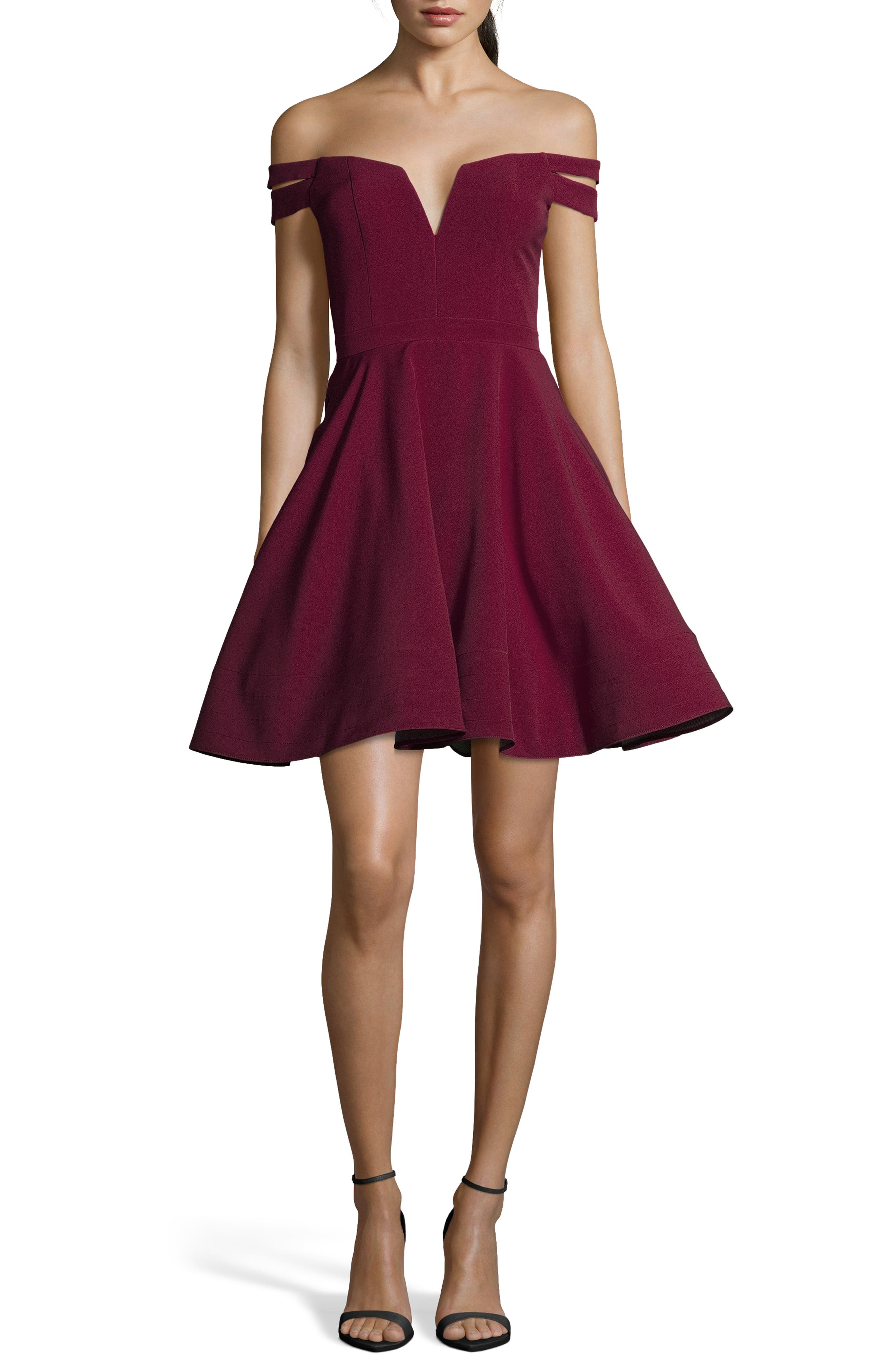 XSCAPE,                             Double Strap Off the Shoulder Party Dress,                             Main thumbnail 1, color,                             WINE