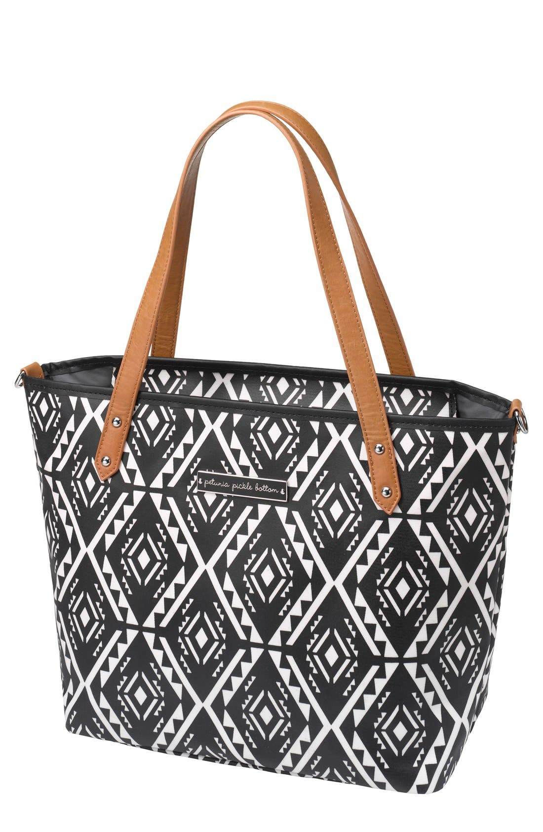 'Downtown Mini' Coated Canvas Diaper Tote,                             Main thumbnail 1, color,                             002
