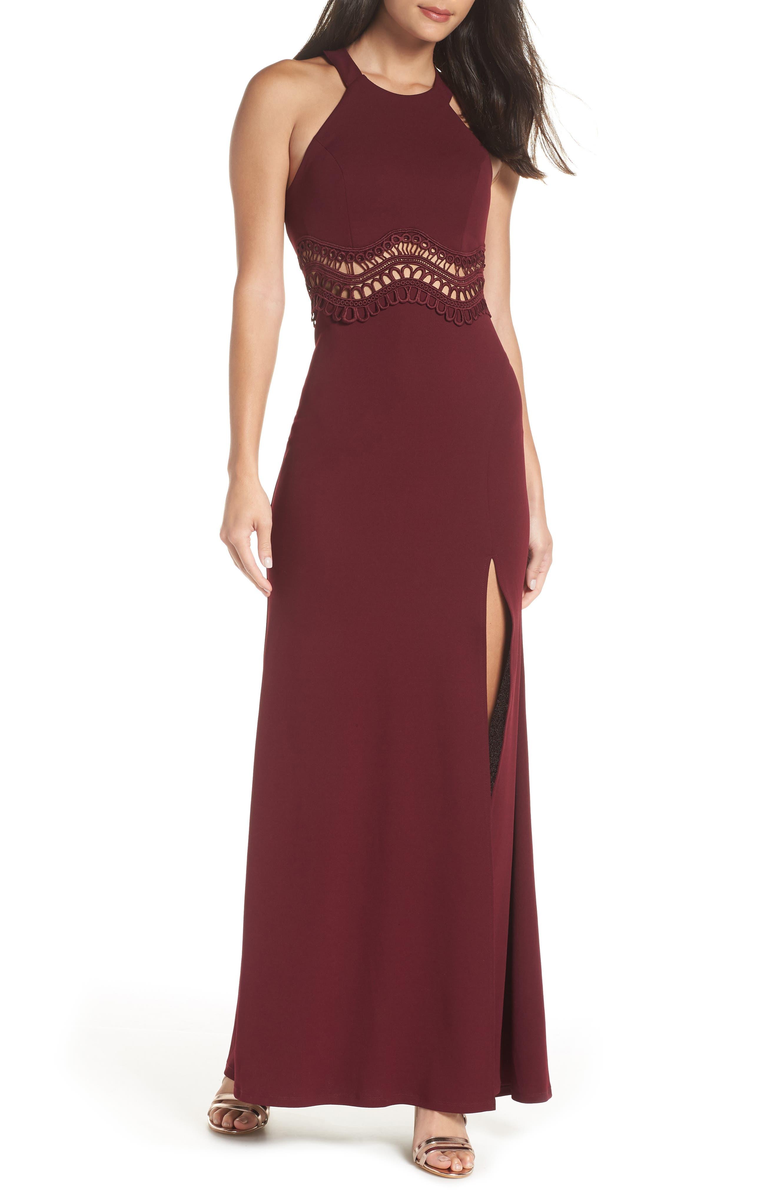 Sequin Hearts Front Slit Scuba Crepe Gown, Burgundy