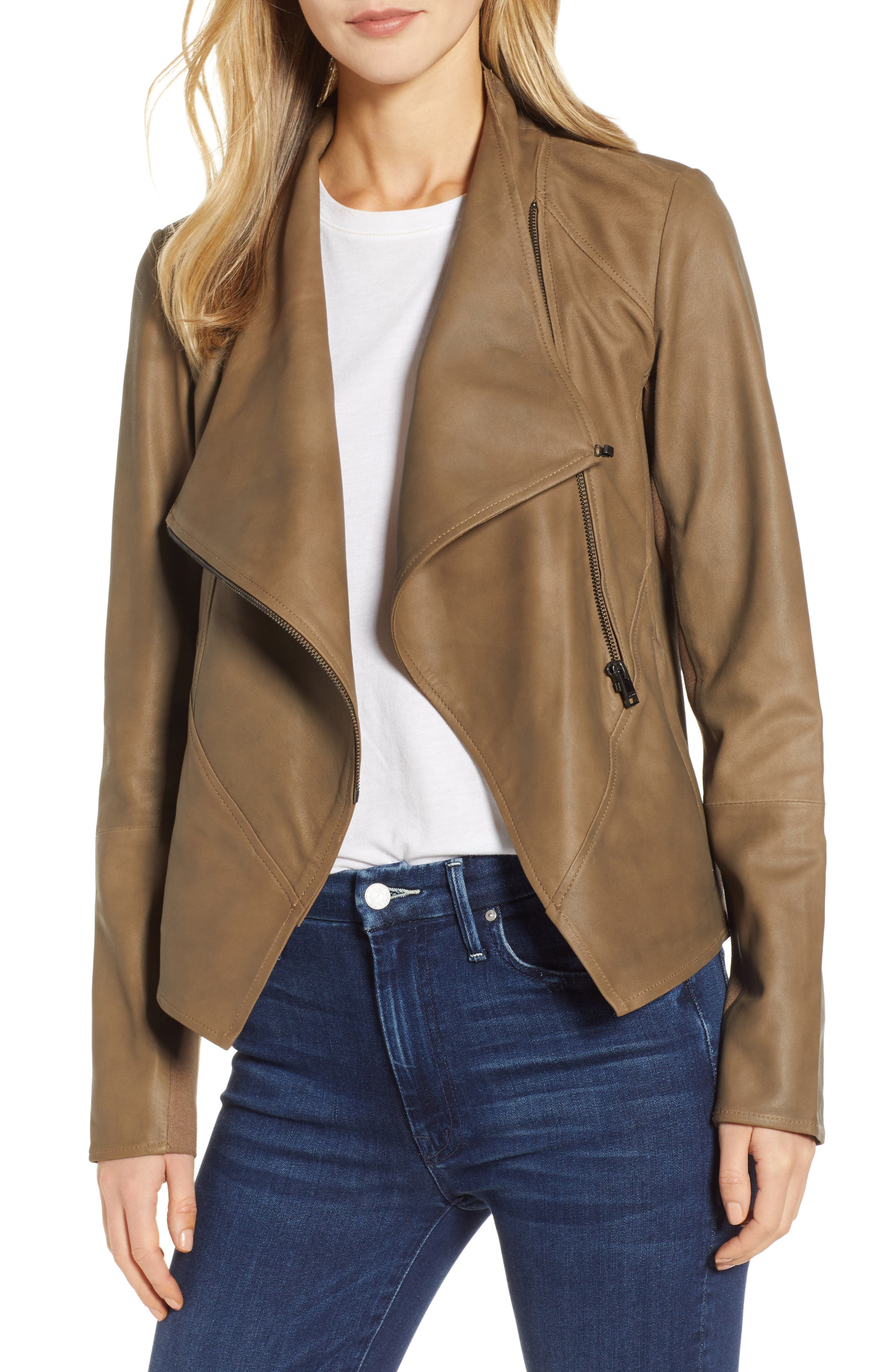 Asymmetrical Zip Front Leather Cascade Jacket, Main, color, TAUPE