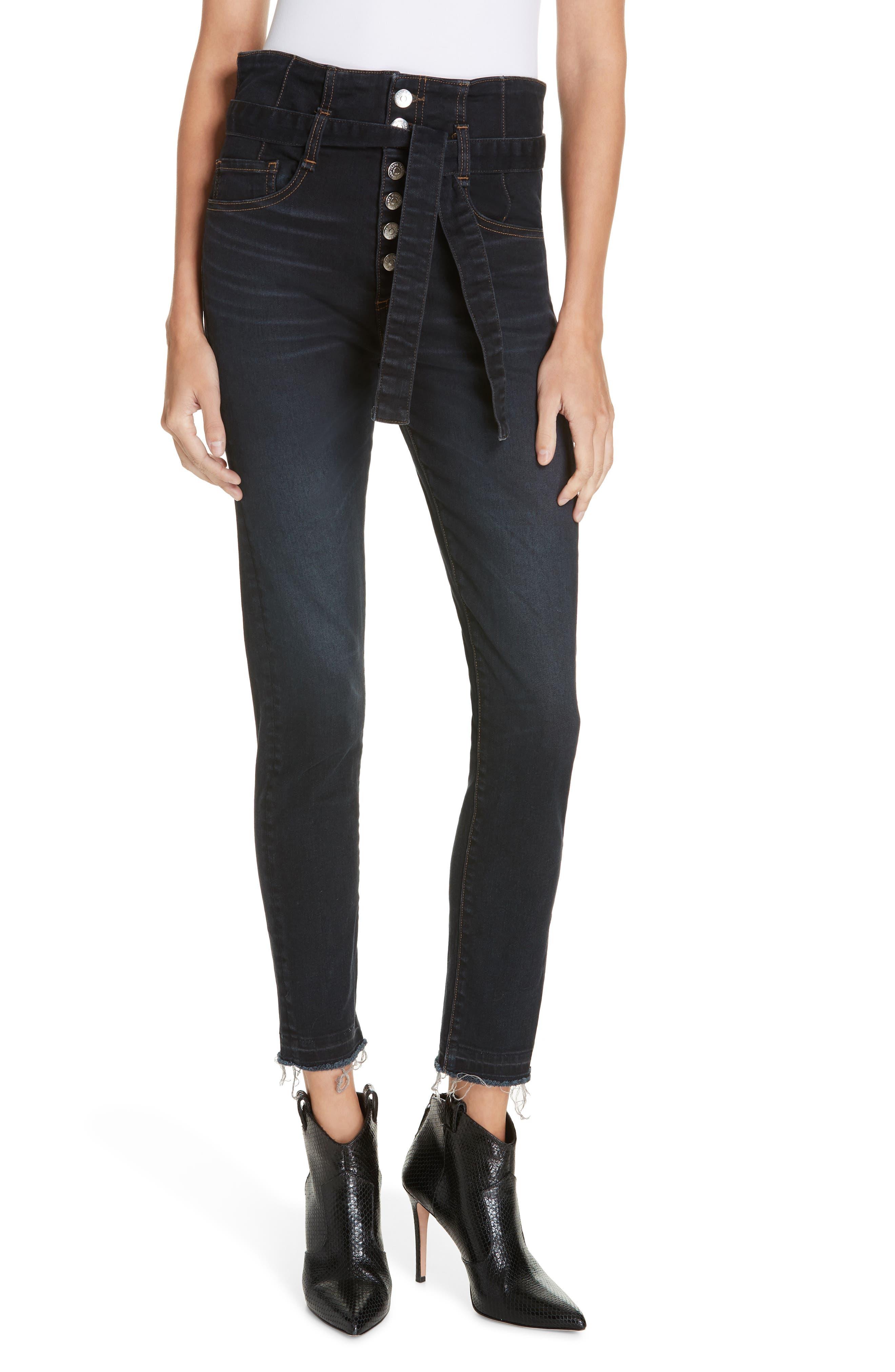 Keith Corset Waist Skinny Jeans, Main, color, DARK SLATE
