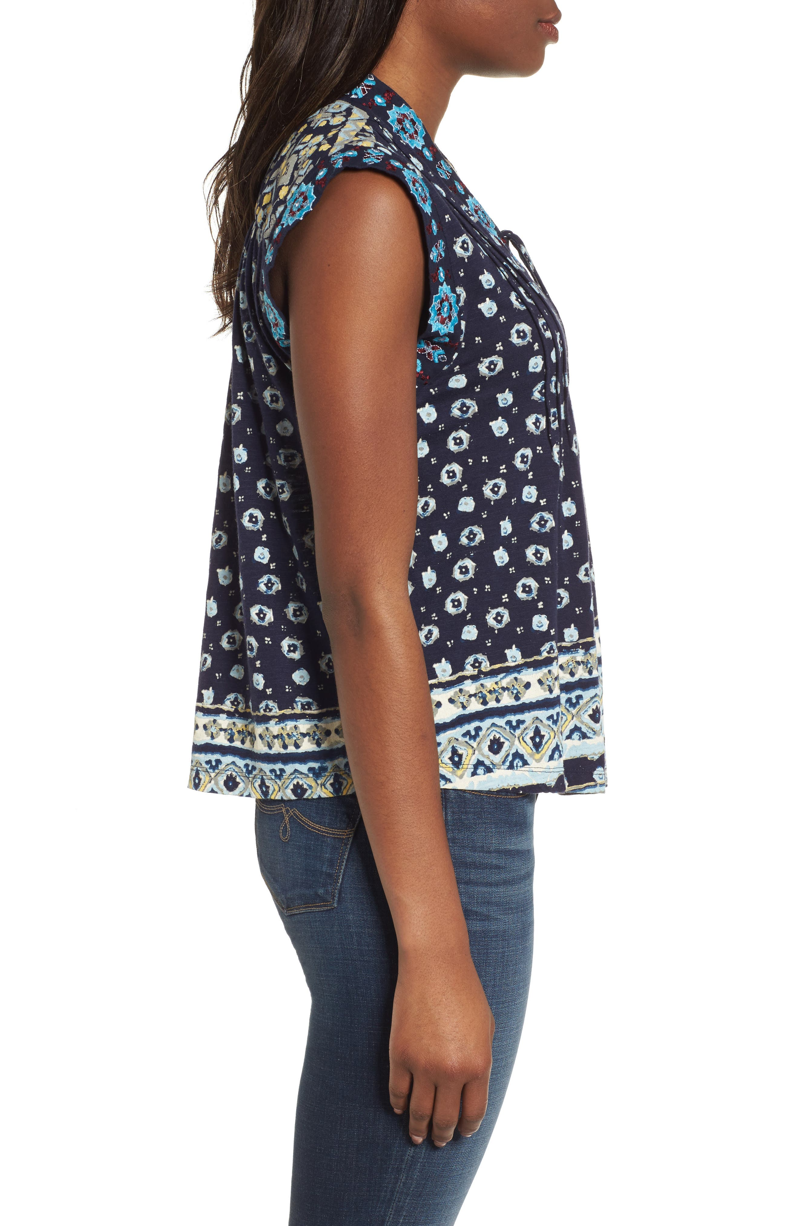 Lace-Up Printed Top,                             Alternate thumbnail 3, color,