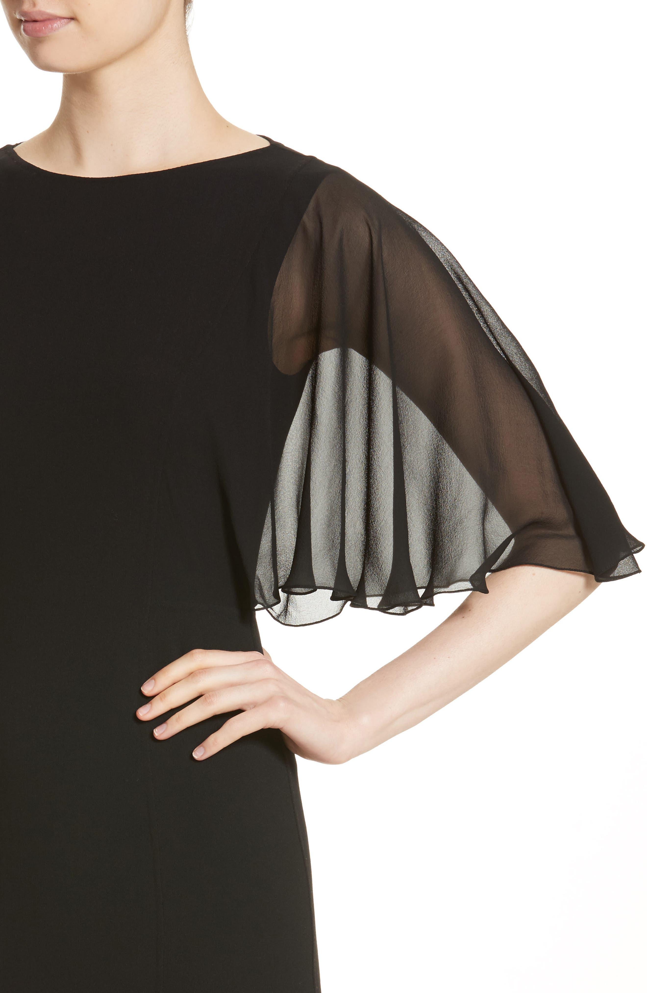 Draped Chiffon Sleeve Dress,                             Alternate thumbnail 4, color,                             001