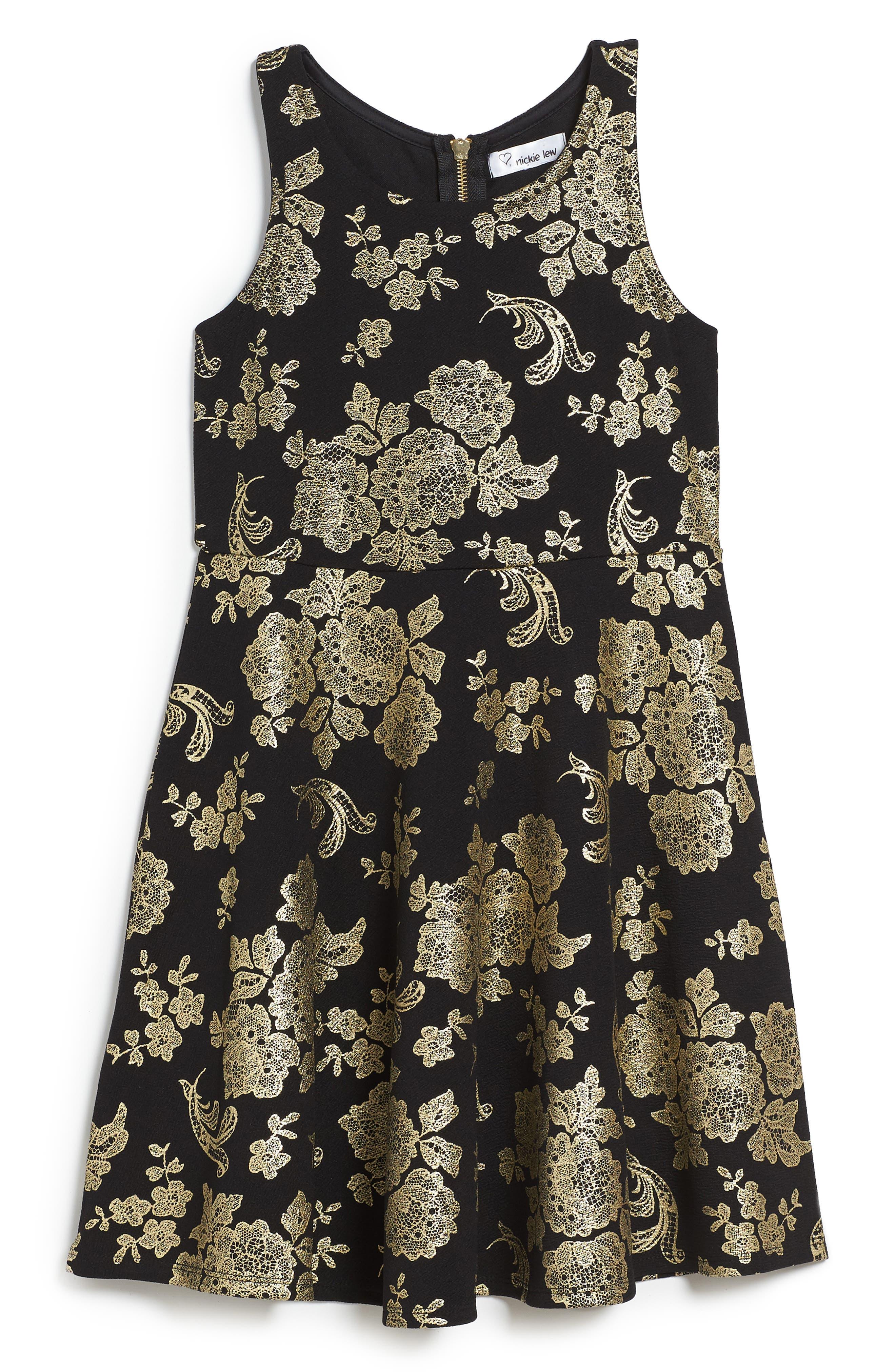 Foil Print Skater Dress,                             Main thumbnail 1, color,                             001