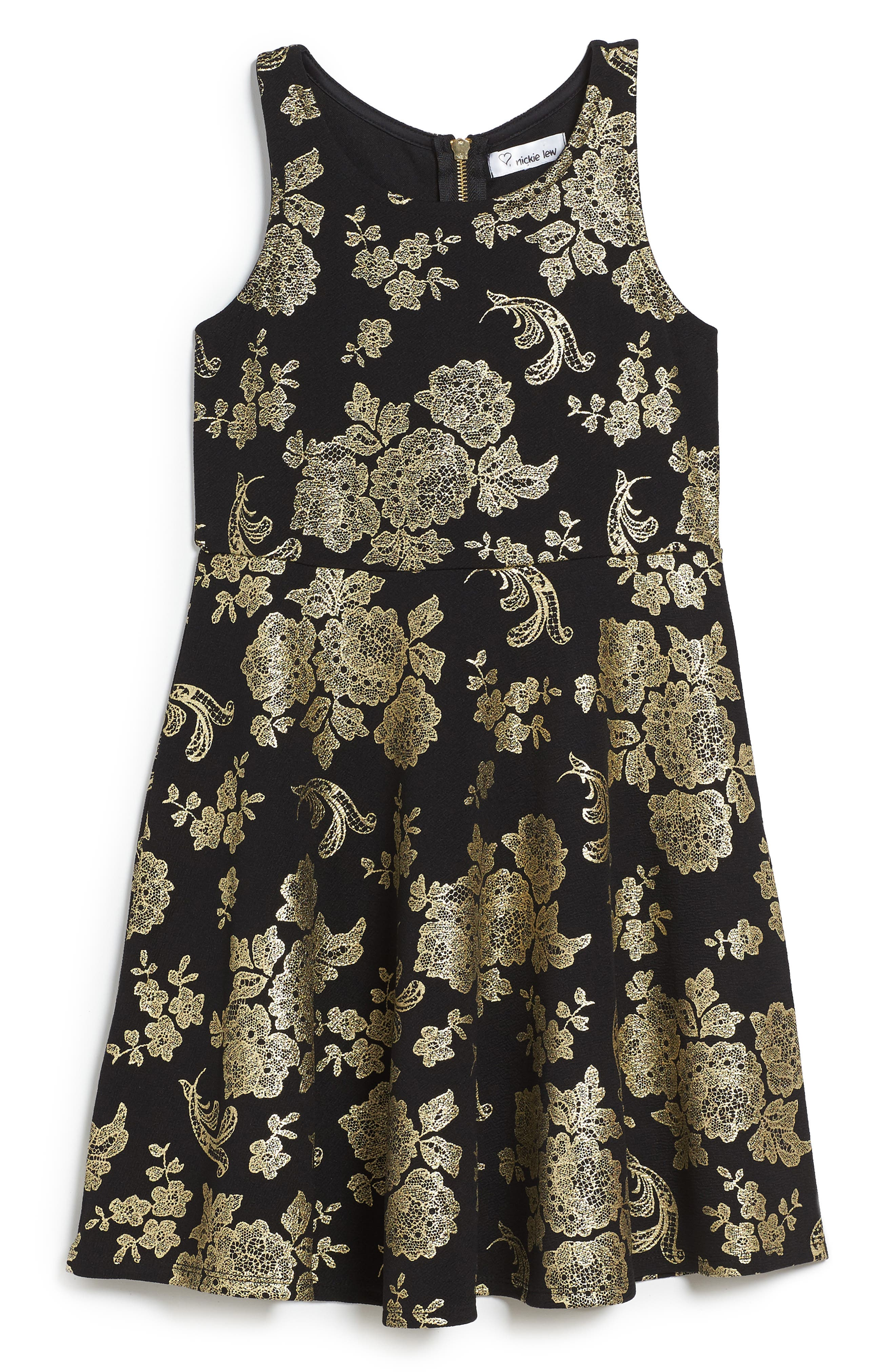 Foil Print Skater Dress,                         Main,                         color, 001