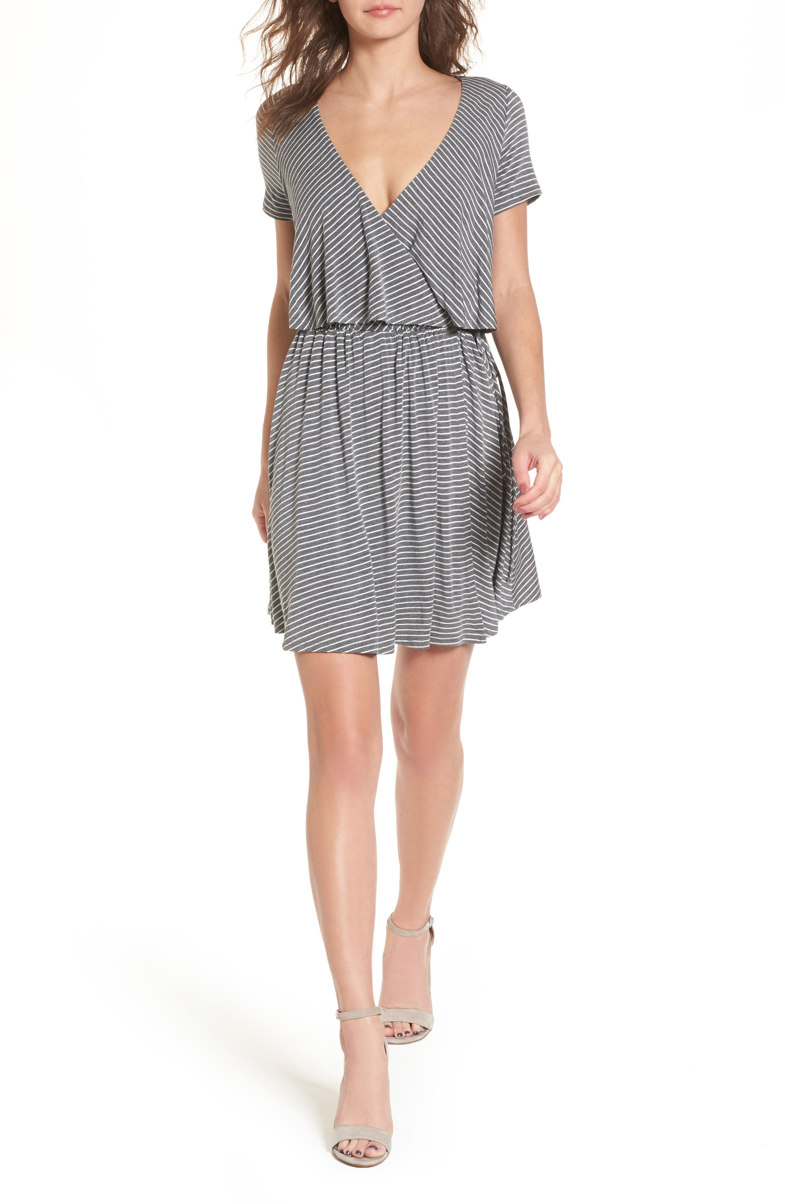 Stripe Flutter Bodice Dress,                         Main,                         color, 020