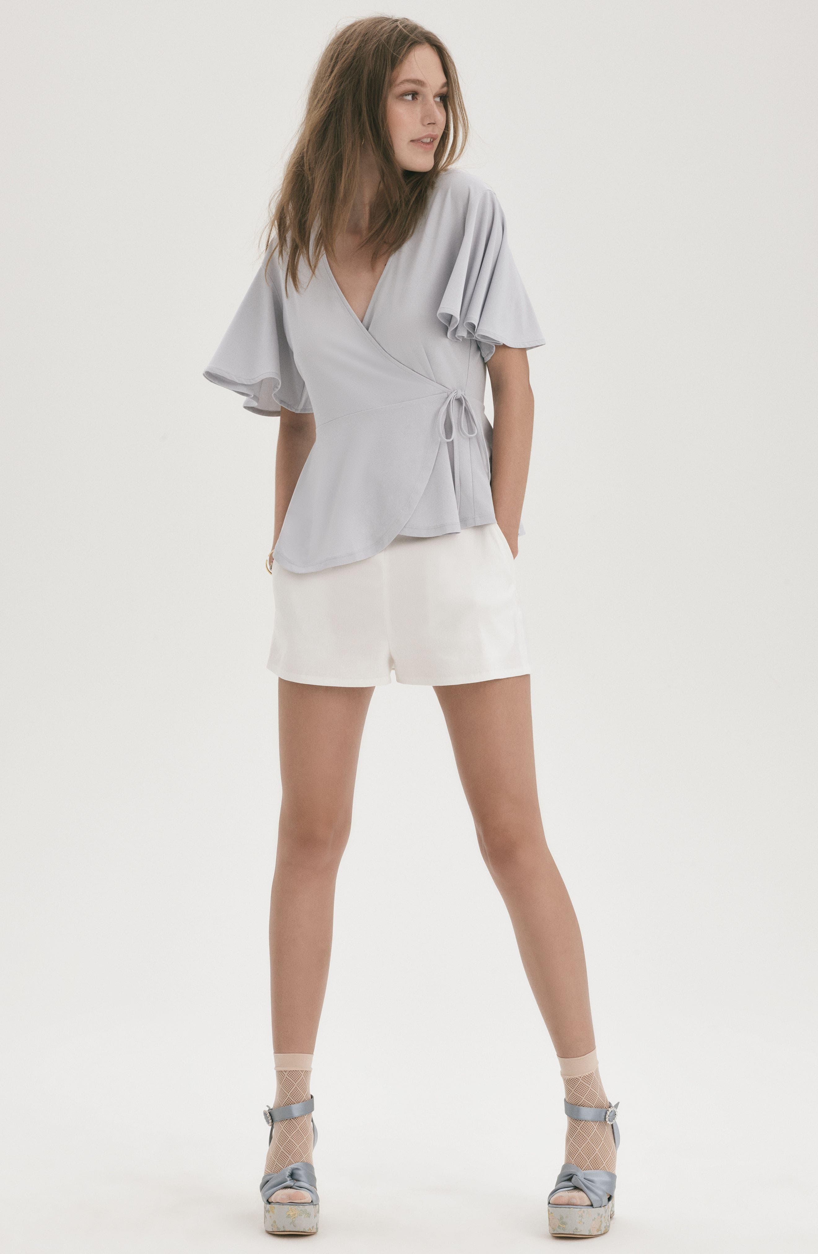 High Waist Linen Blend Shorts,                             Alternate thumbnail 9, color,                             001