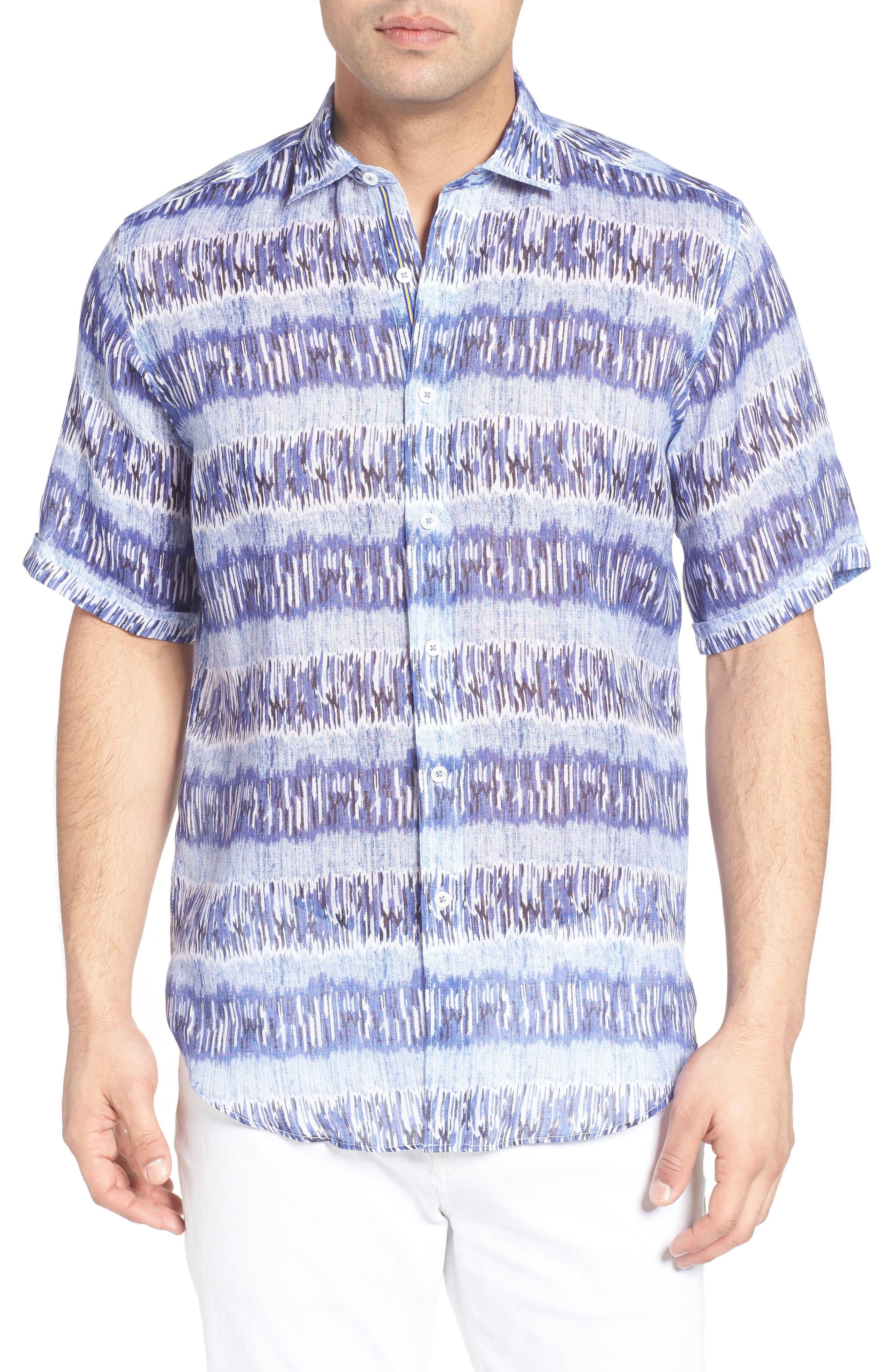 Shaped Fit Print Linen Sport Shirt,                         Main,                         color, 422