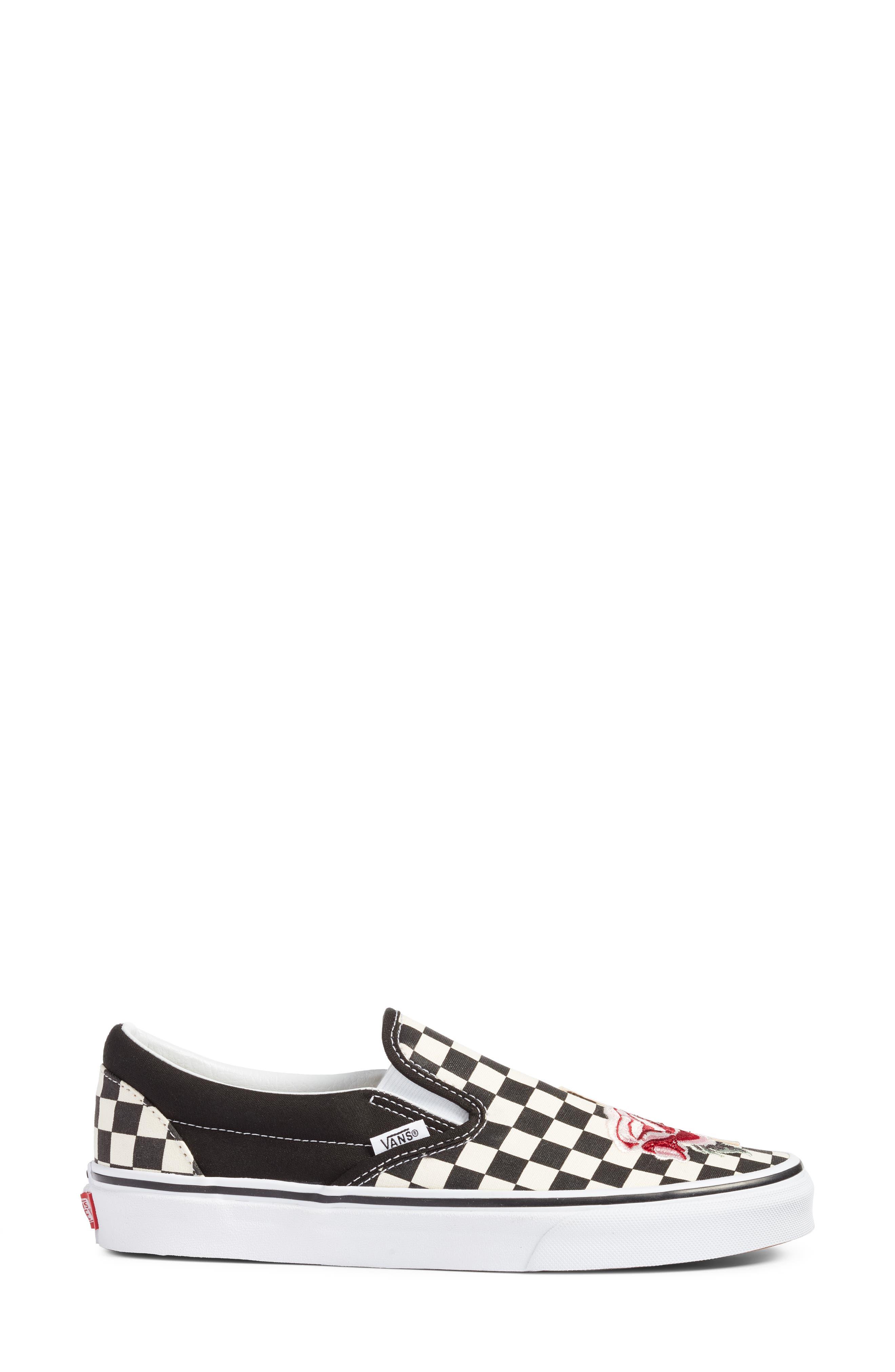 UA Classic Slip-On Sneaker,                             Alternate thumbnail 3, color,                             CHECKER/ ROSE