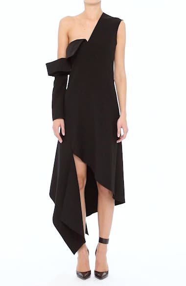 Double-Face Stretch Wool One-Shoulder Dress, video thumbnail