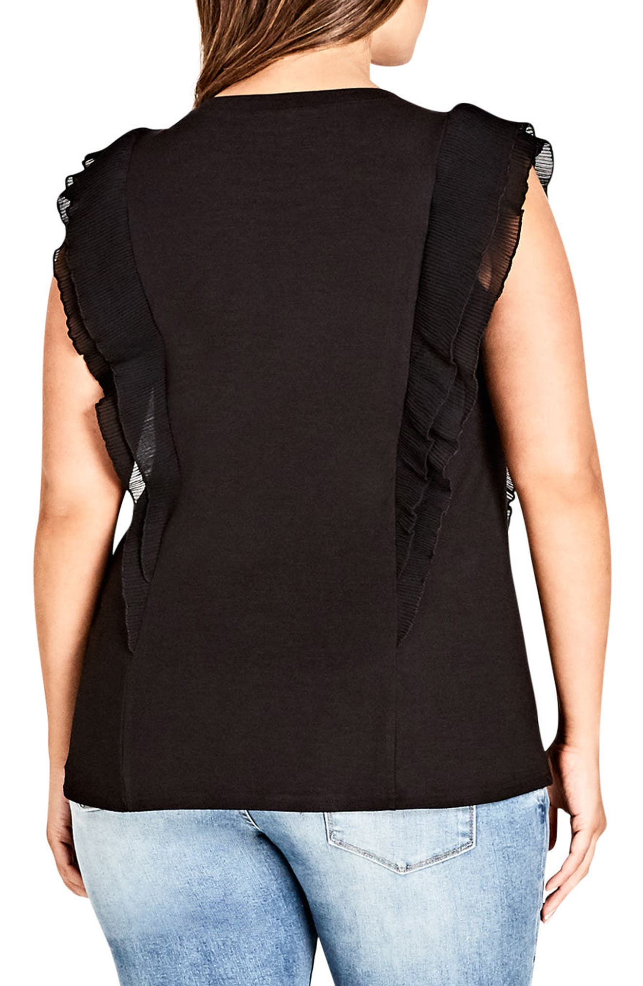 Chic Chic Aflutter Top,                             Alternate thumbnail 2, color,                             BLACK