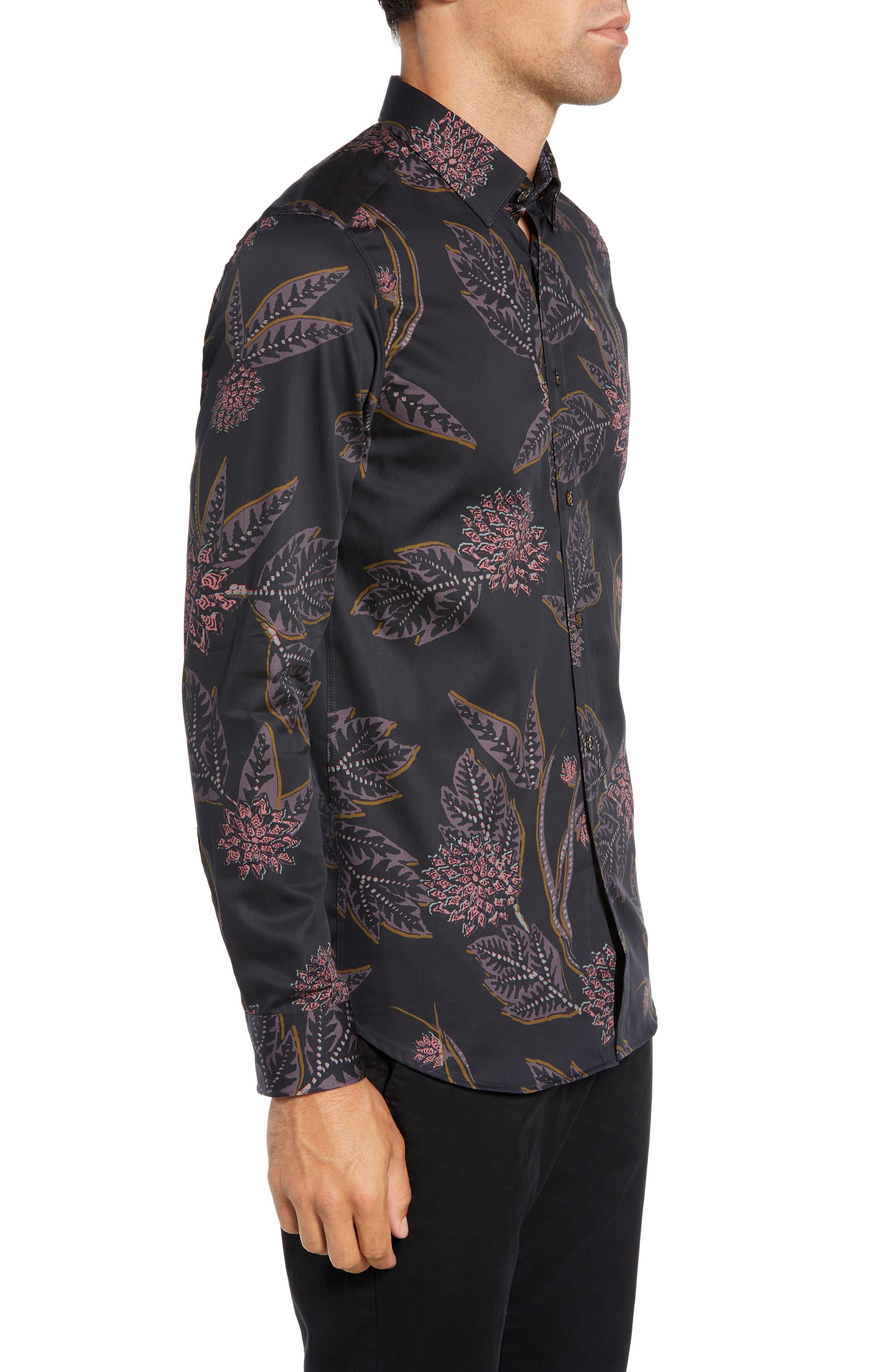 Notting Slim Fit Floral Sport Shirt,                             Alternate thumbnail 4, color,                             NAVY