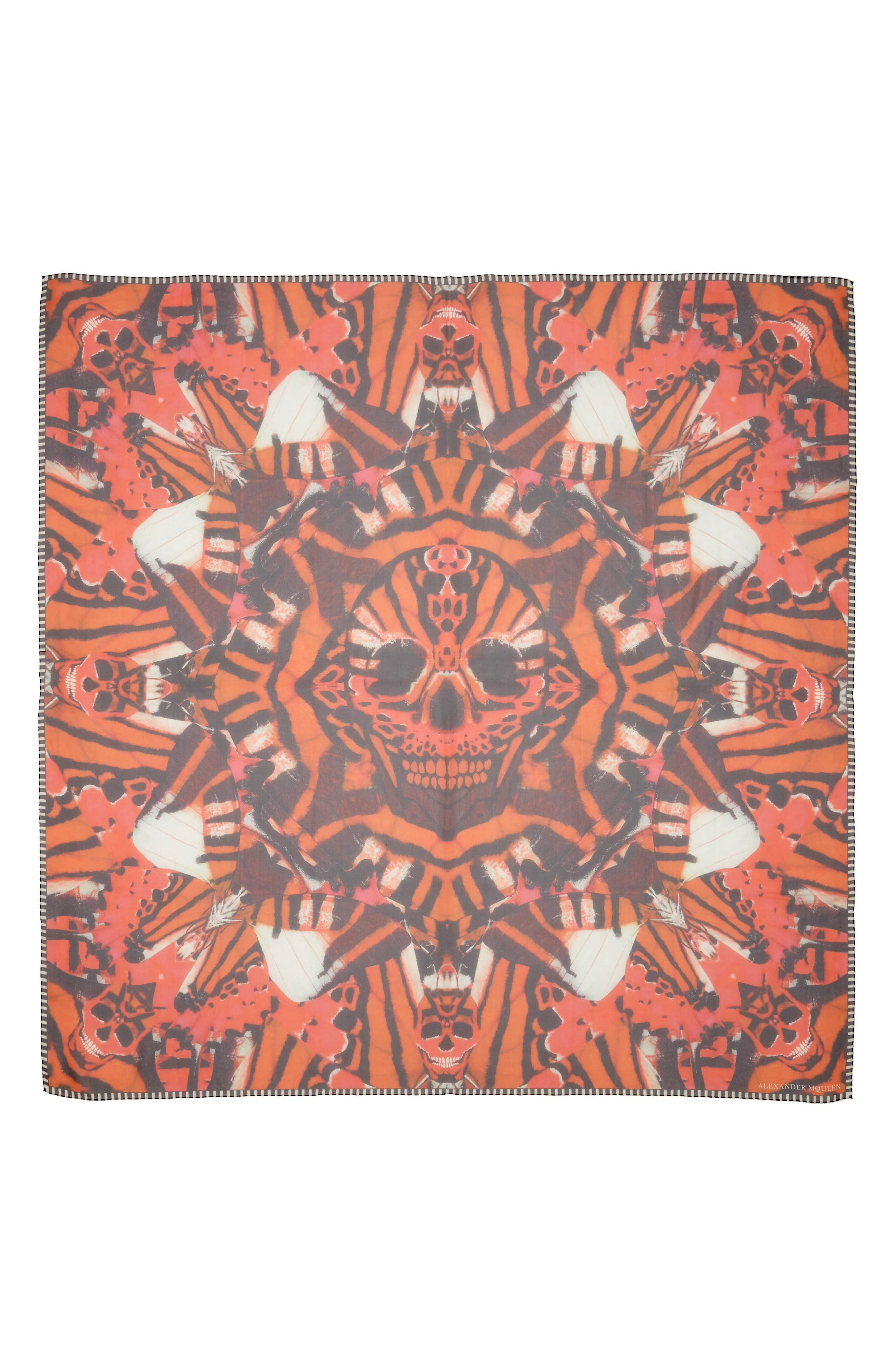 Skull & Tiger Moth Print Silk Chiffon Scarf,                         Main,                         color, ORANGE