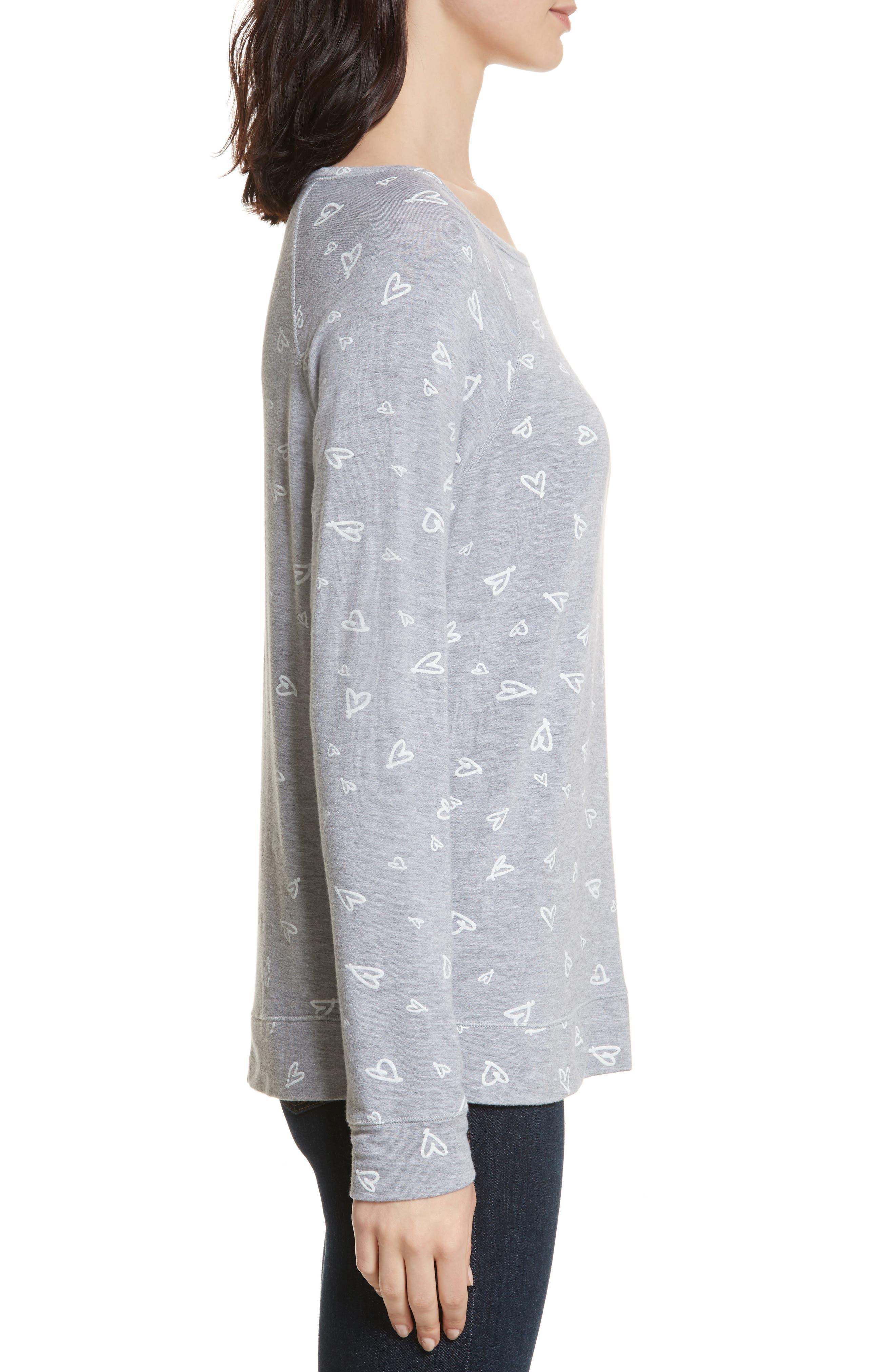 Annora B Print Cotton & Modal Blend Sweatshirt,                             Alternate thumbnail 3, color,                             071