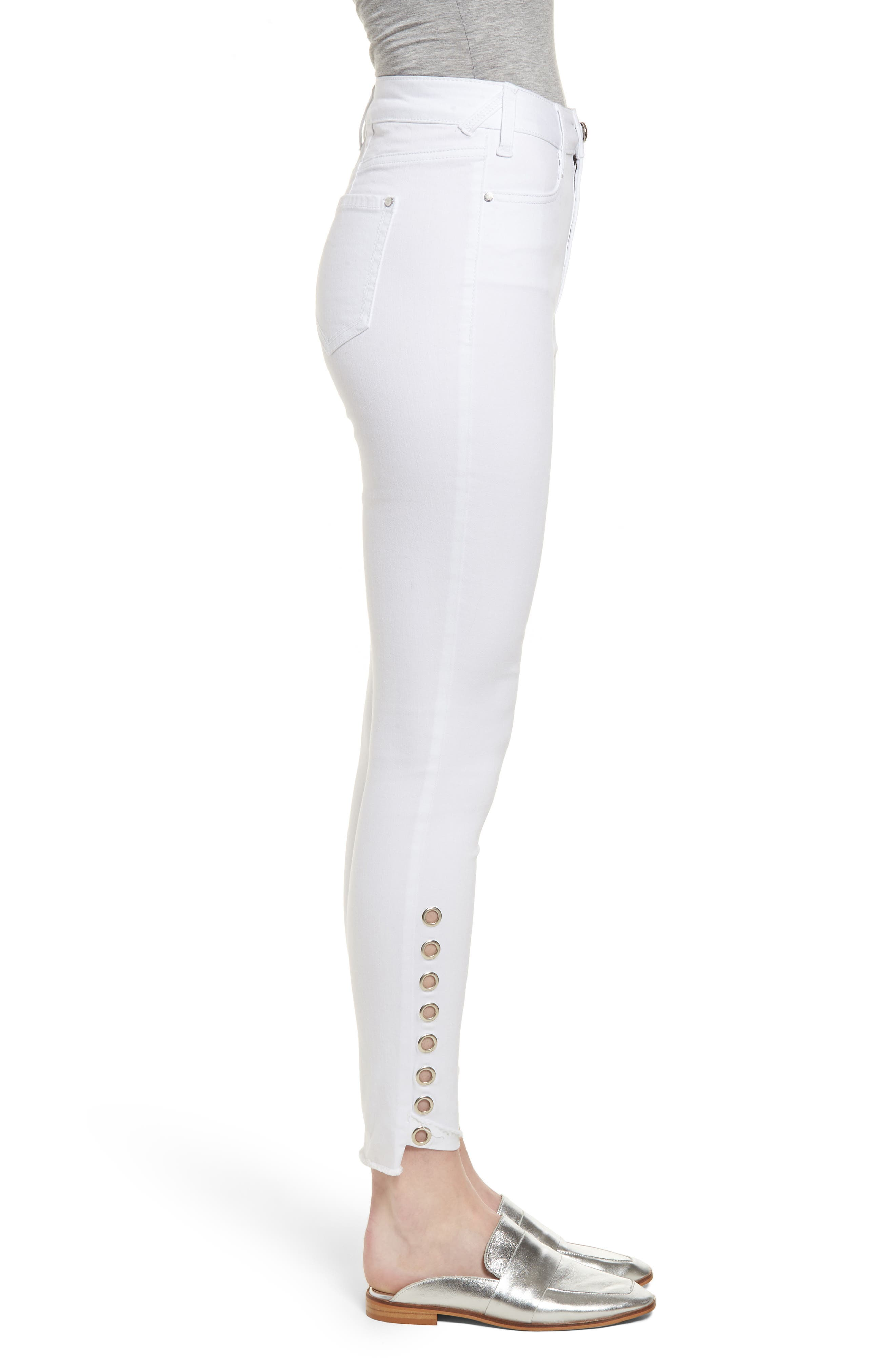 AFRM,                             Grommet Detail Ankle Skinny Jeans,                             Alternate thumbnail 3, color,                             100