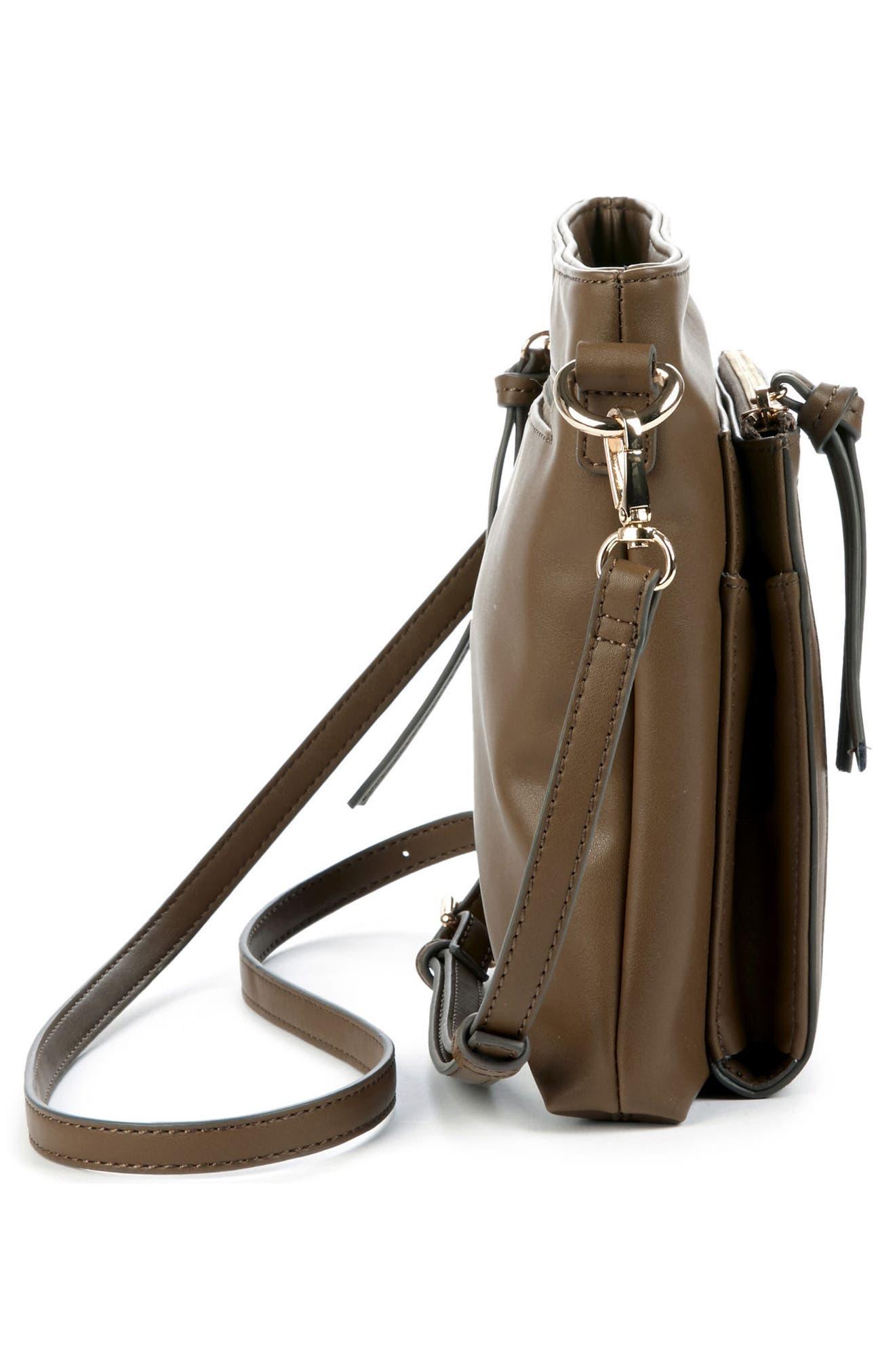 Flat Faux Leather Crossbody Bag,                             Alternate thumbnail 14, color,