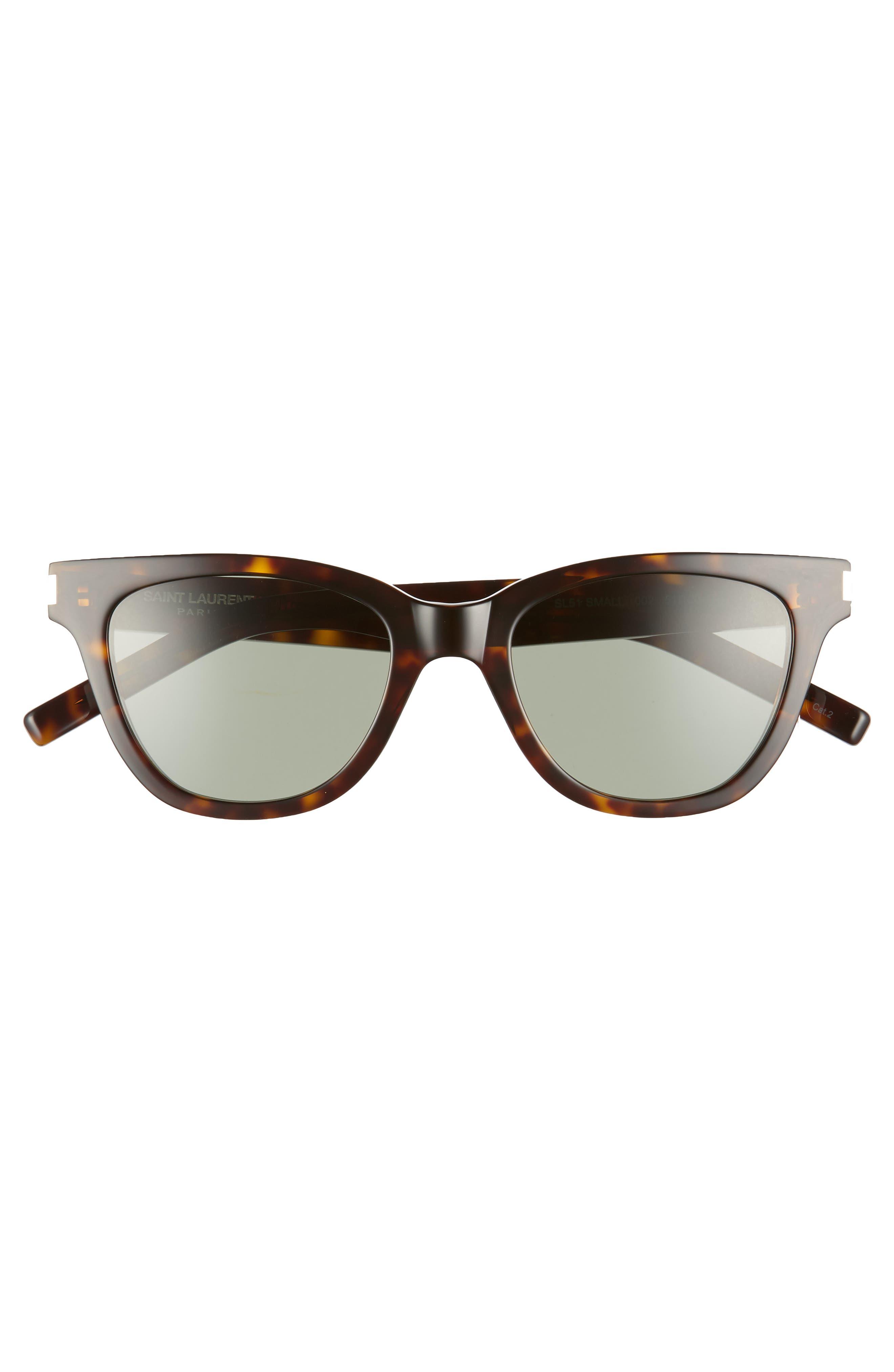 51mm Cat Eye Sunglasses,                             Alternate thumbnail 3, color,                             DARK HAVANA/ GREEN