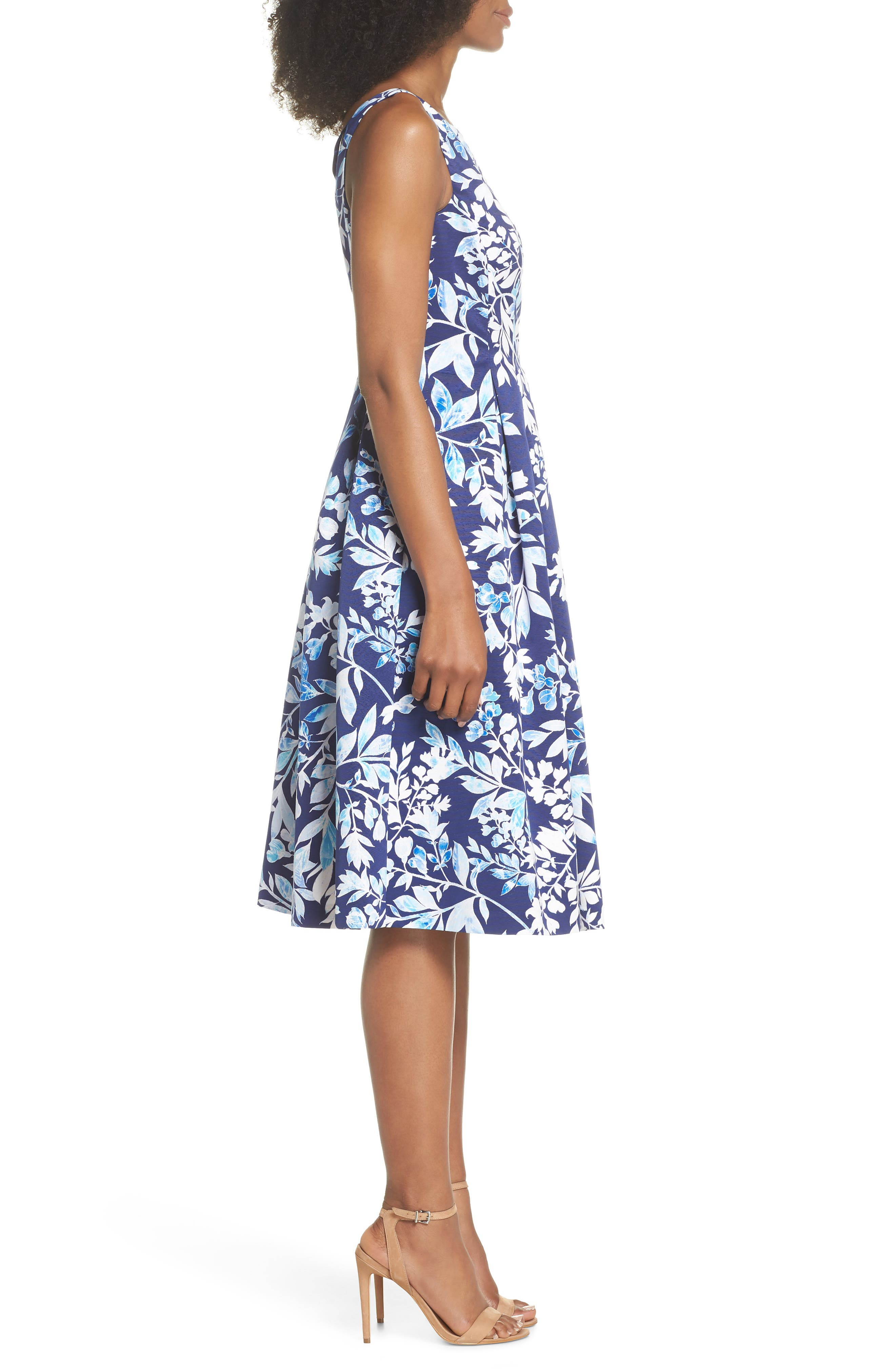 Seamed Bodice Fit & Flare Dress,                             Alternate thumbnail 3, color,