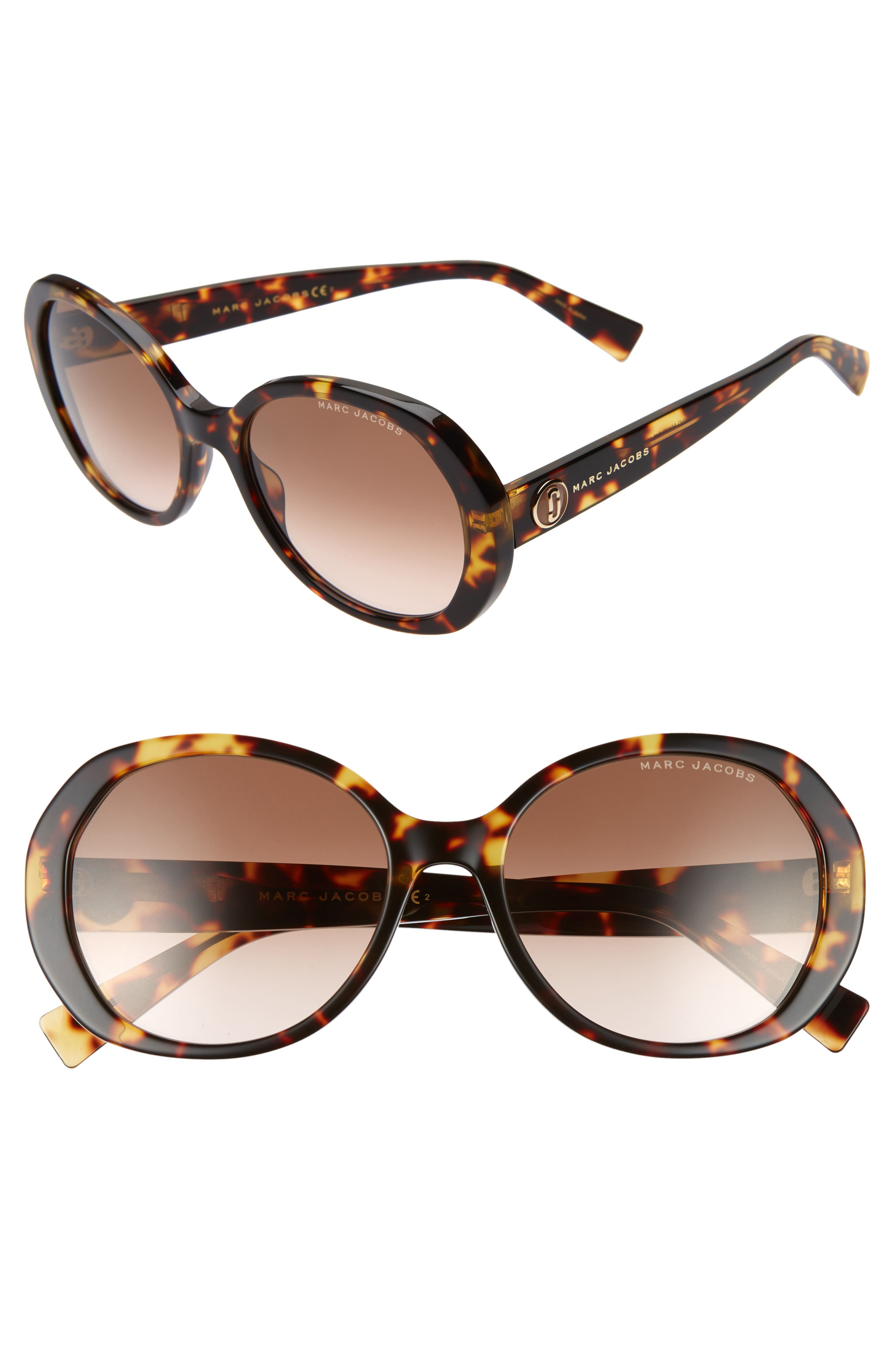 MARC JACOBS 56mm Round Sunglasses, Main, color, BLACK DARK HAVANA