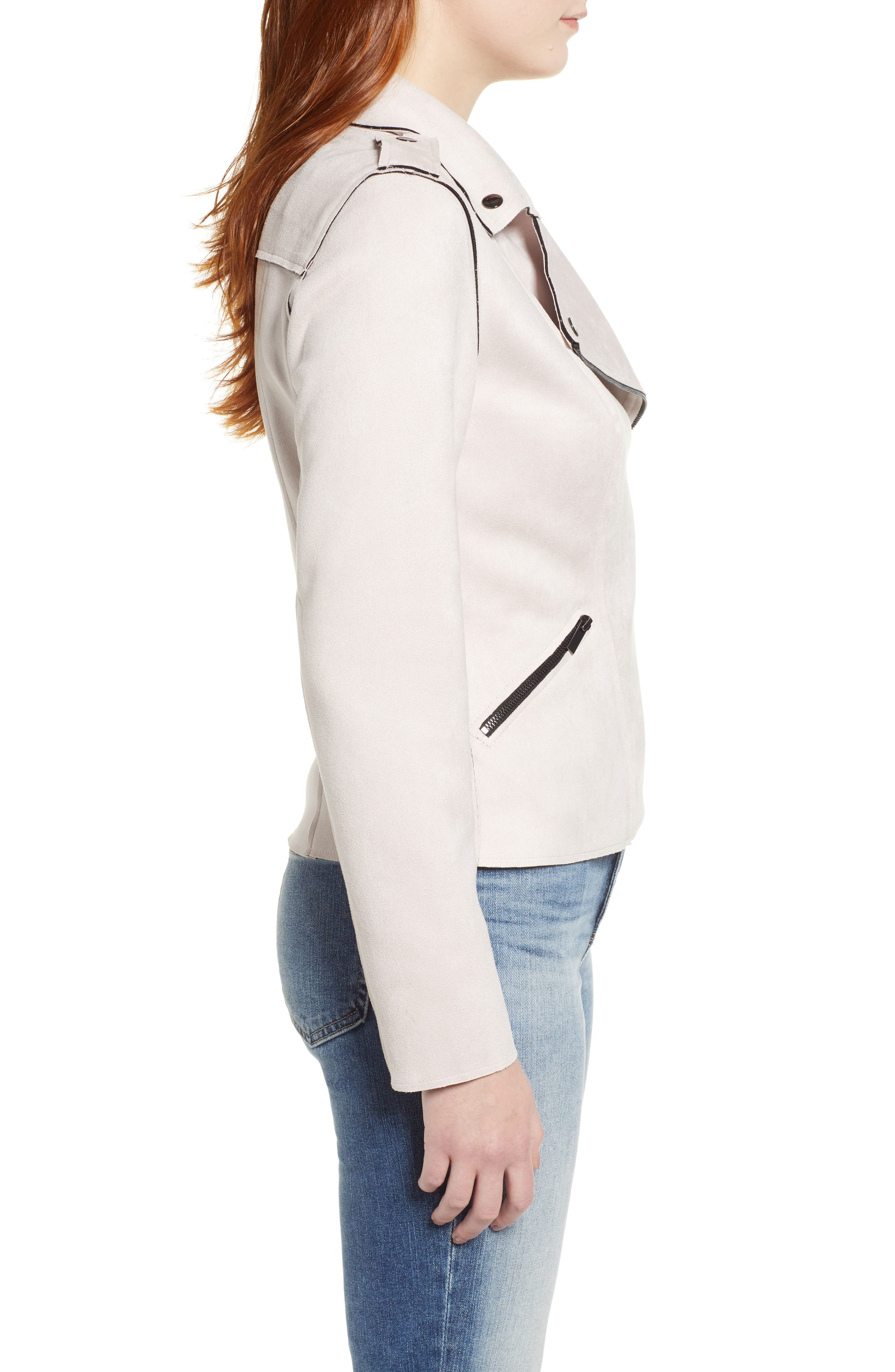 KUT FROM THE KLOTH,                             Haddie Faux Suede Moto Jacket,                             Alternate thumbnail 3, color,                             PALE BLUSH