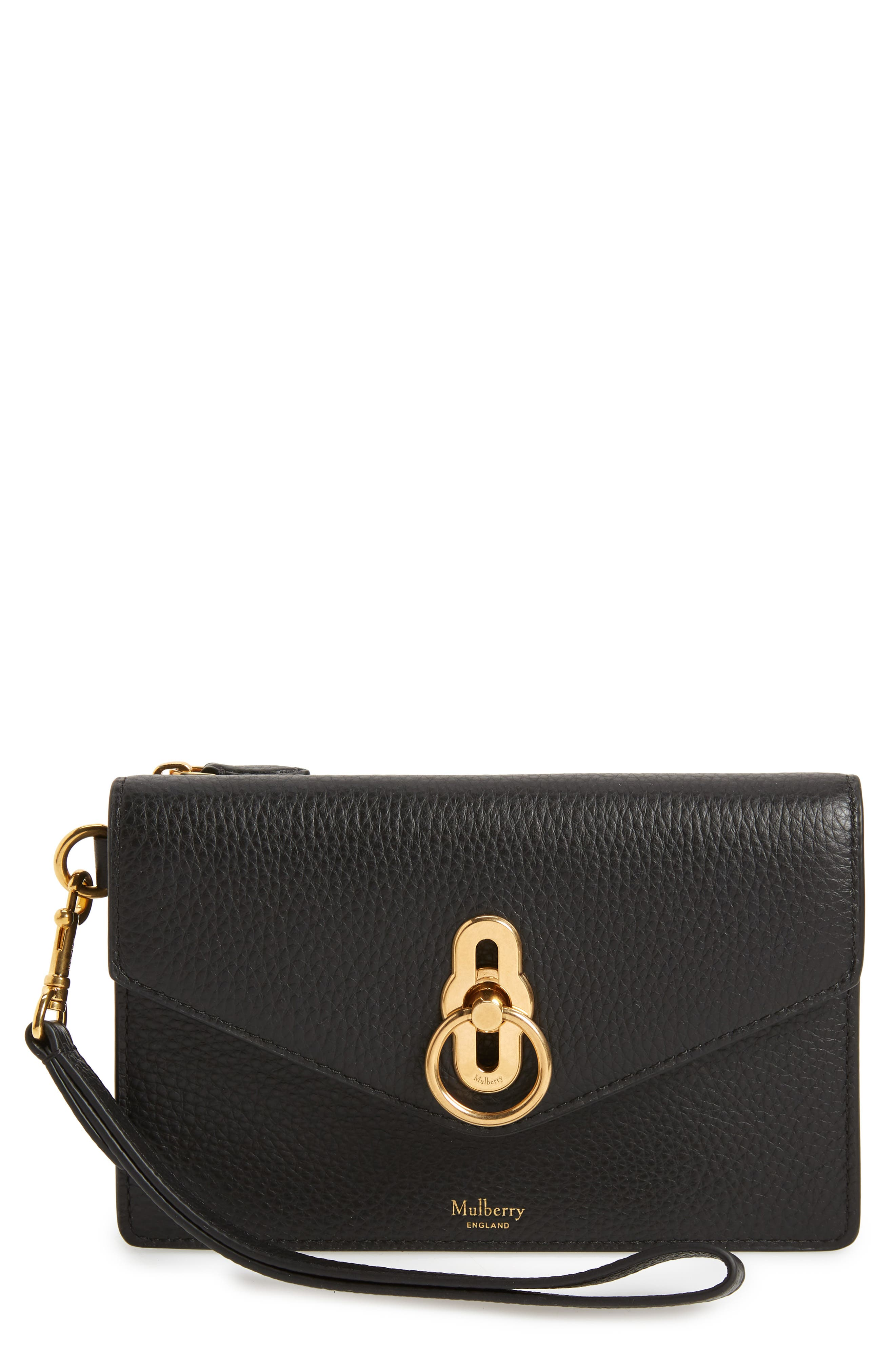 MULBERRY,                             Amberley iPhone Leather Clutch,                             Main thumbnail 1, color,                             BLACK