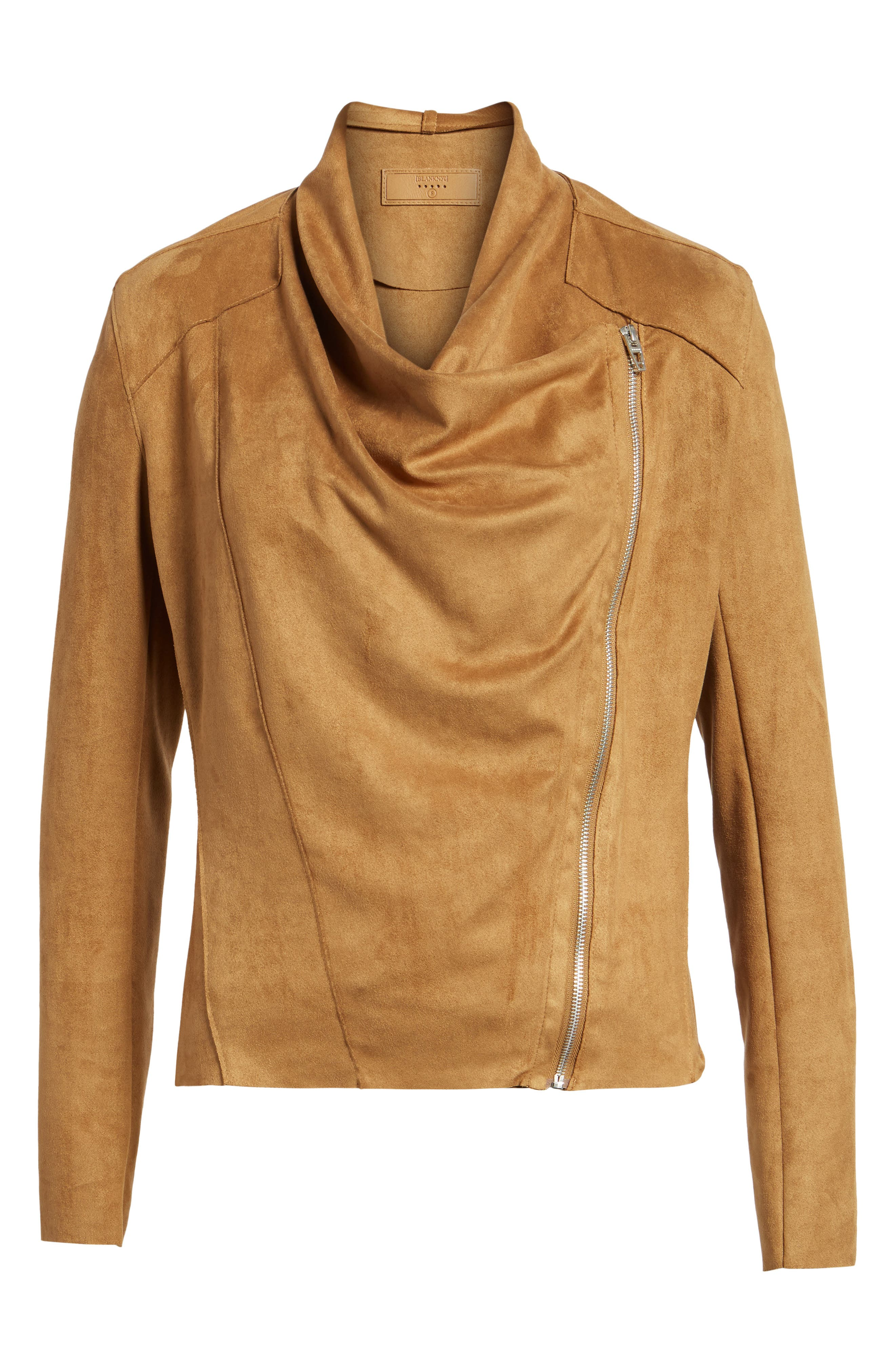 BLANKNYC,                             Drape Front Faux Suede Jacket,                             Alternate thumbnail 6, color,                             CAMEL BACK BROWN