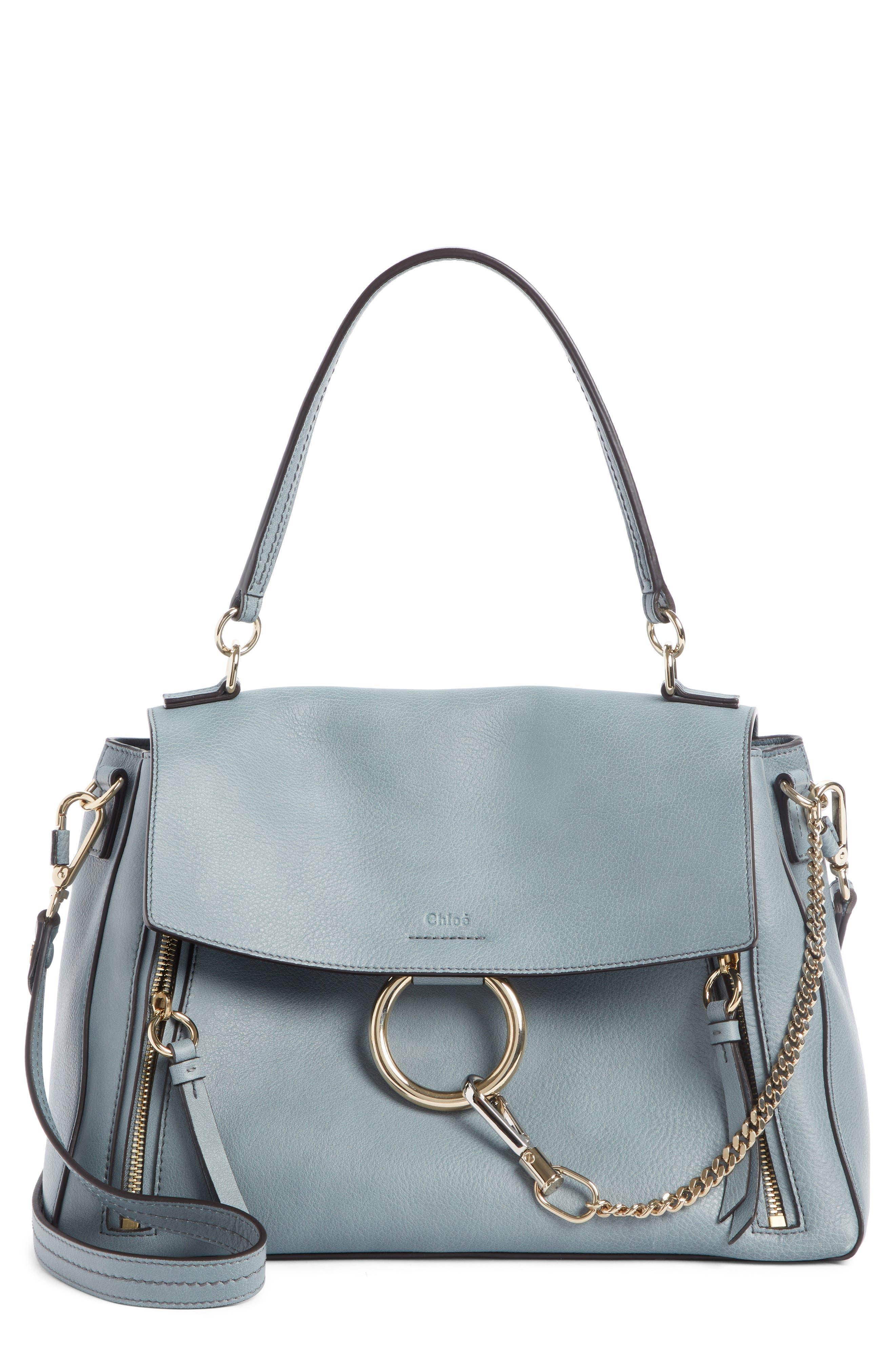 Medium Faye Leather Shoulder Bag, Main, color, CLOUDY BLUE