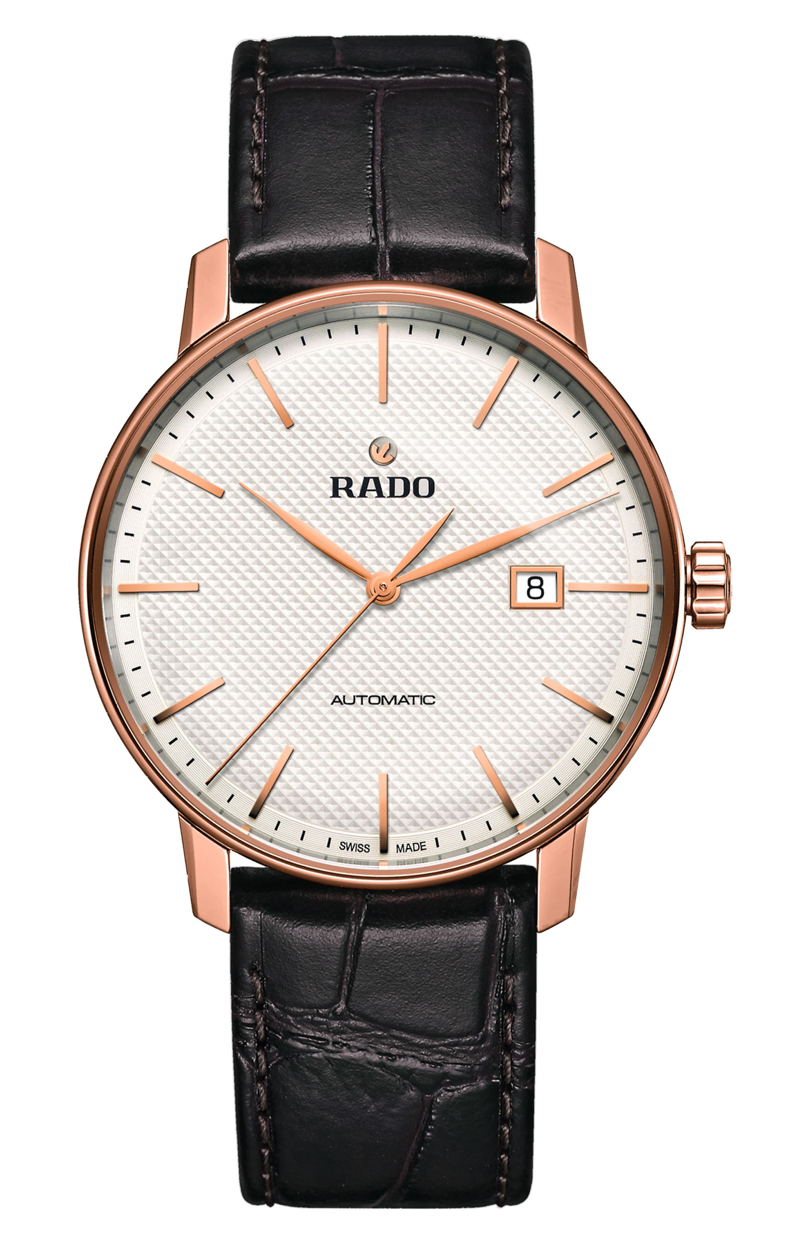 Coupole Classic Automatic Embossed Leather Strap Watch, 41mm, Main, color, BROWN/ WHITE/ ROSE GOLD