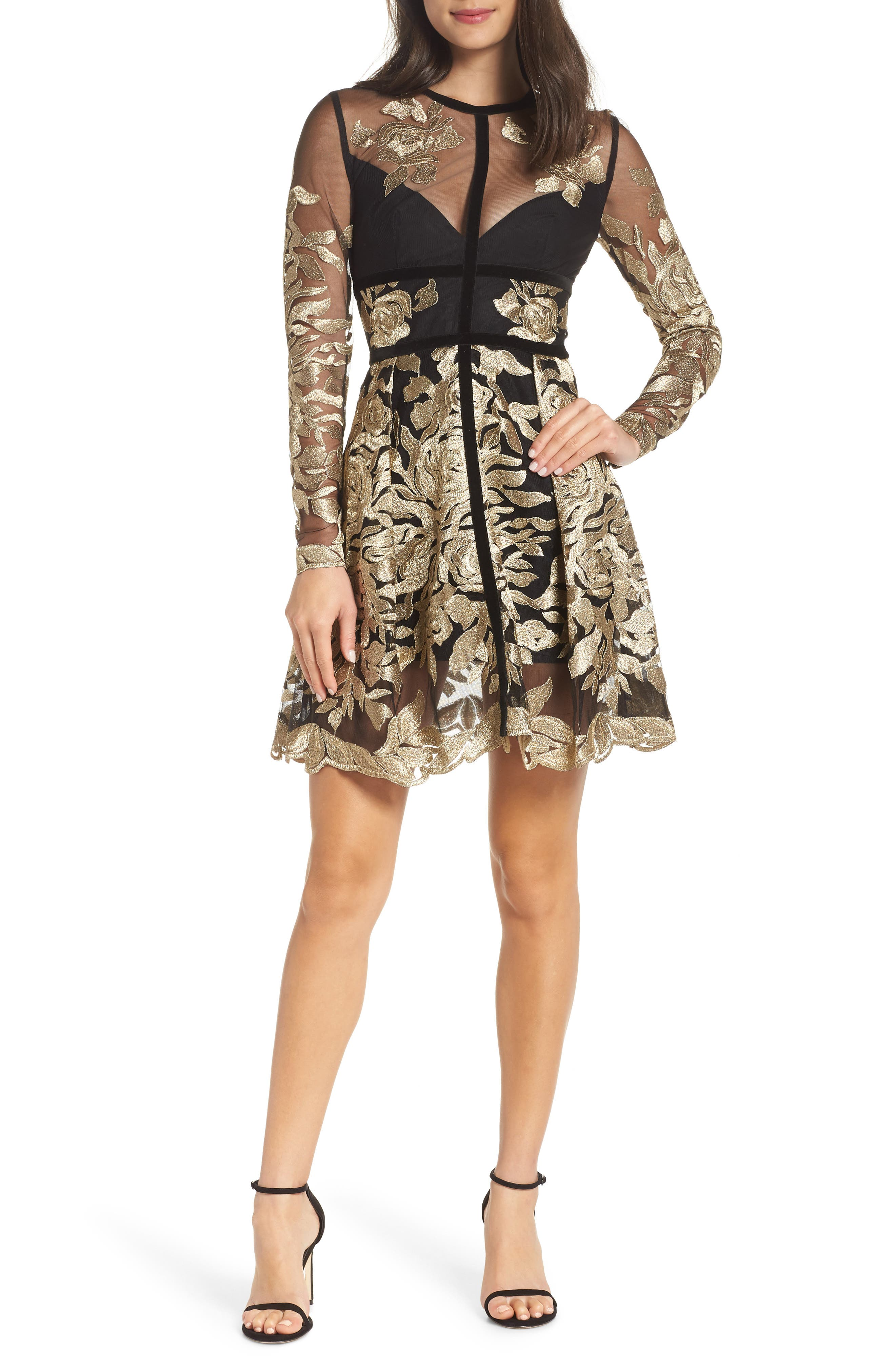 BRONX AND BANCO Golden Rose Embroidered Minidress in Black/ Gold