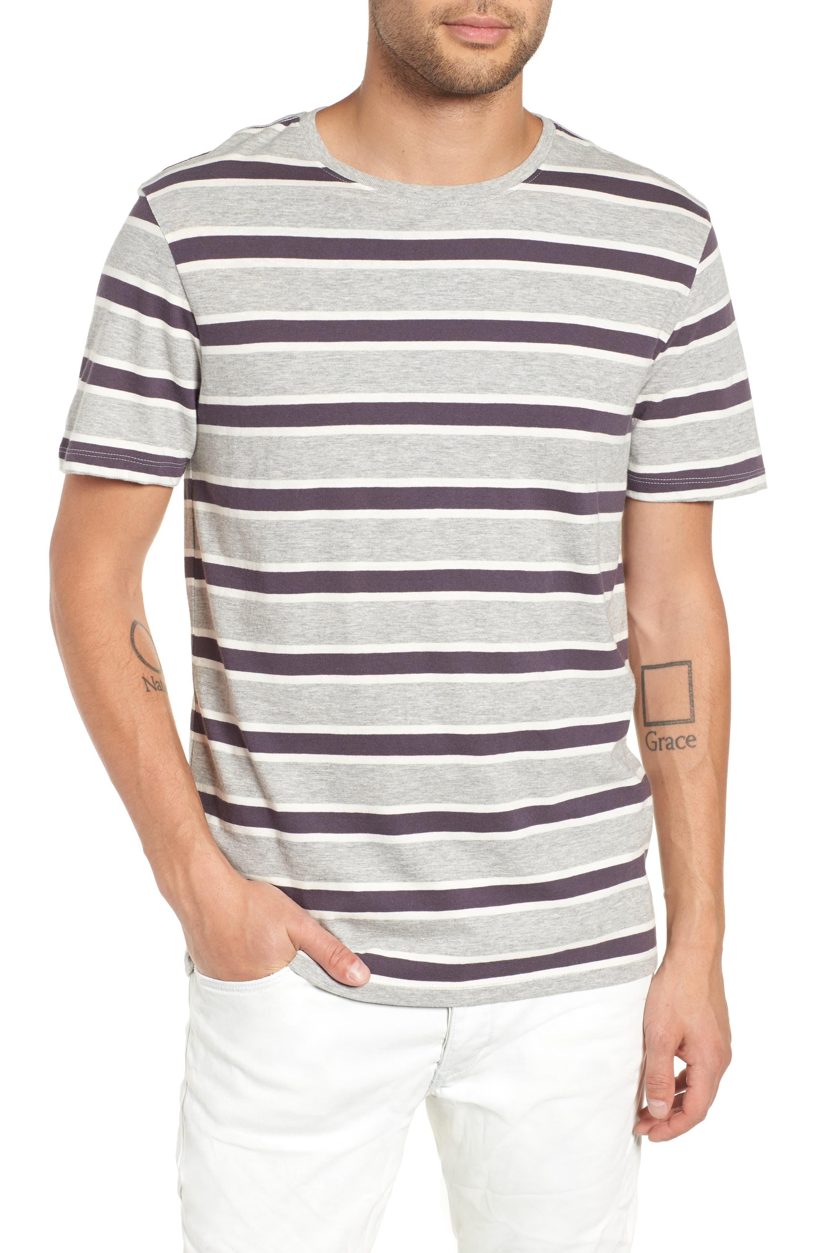 Stripe T-Shirt,                             Main thumbnail 1, color,                             GREY ASH HEATHER- WHITE STRIPE
