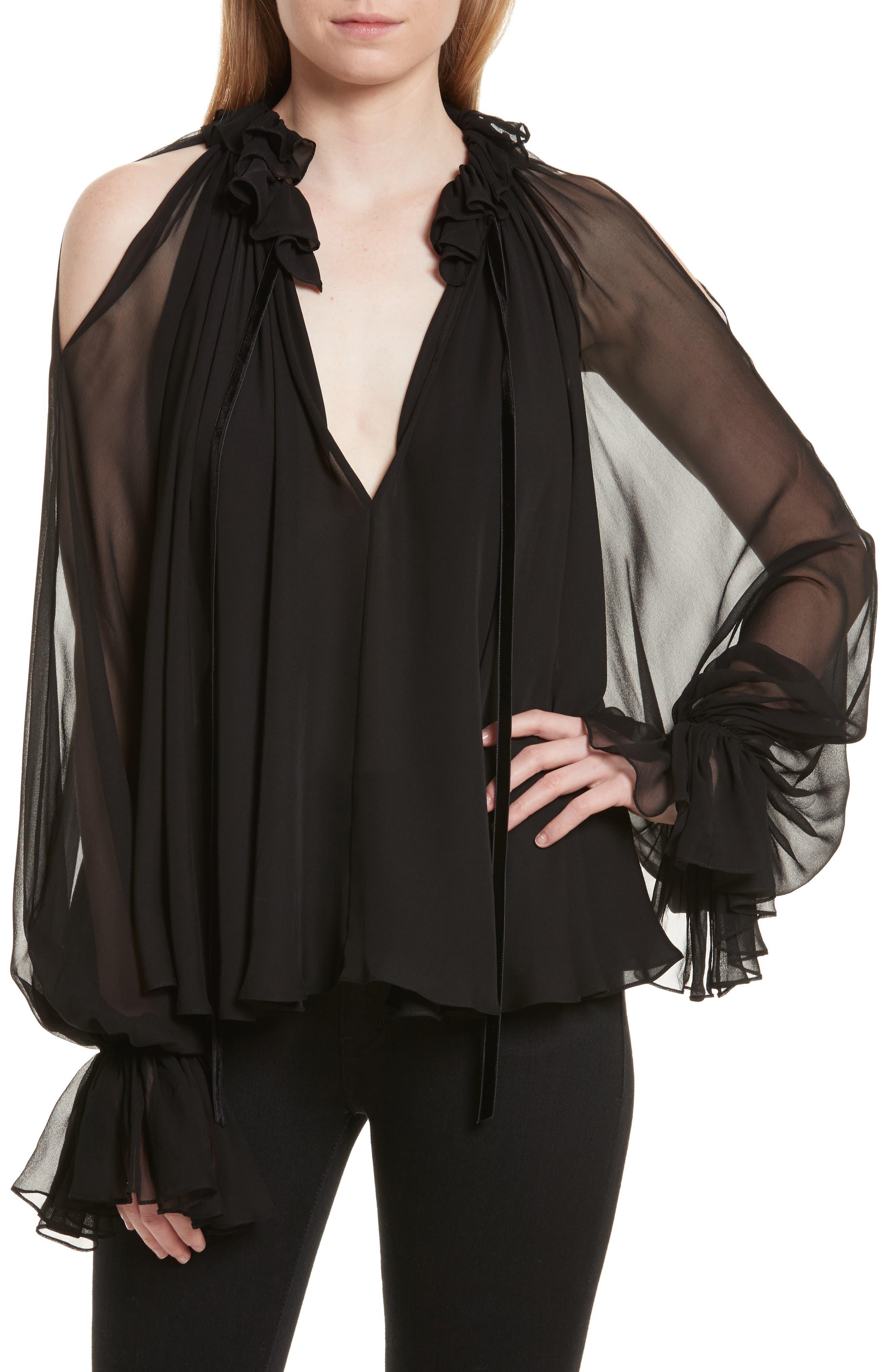 Silk Ruffle Cold Shoulder Top,                         Main,                         color,