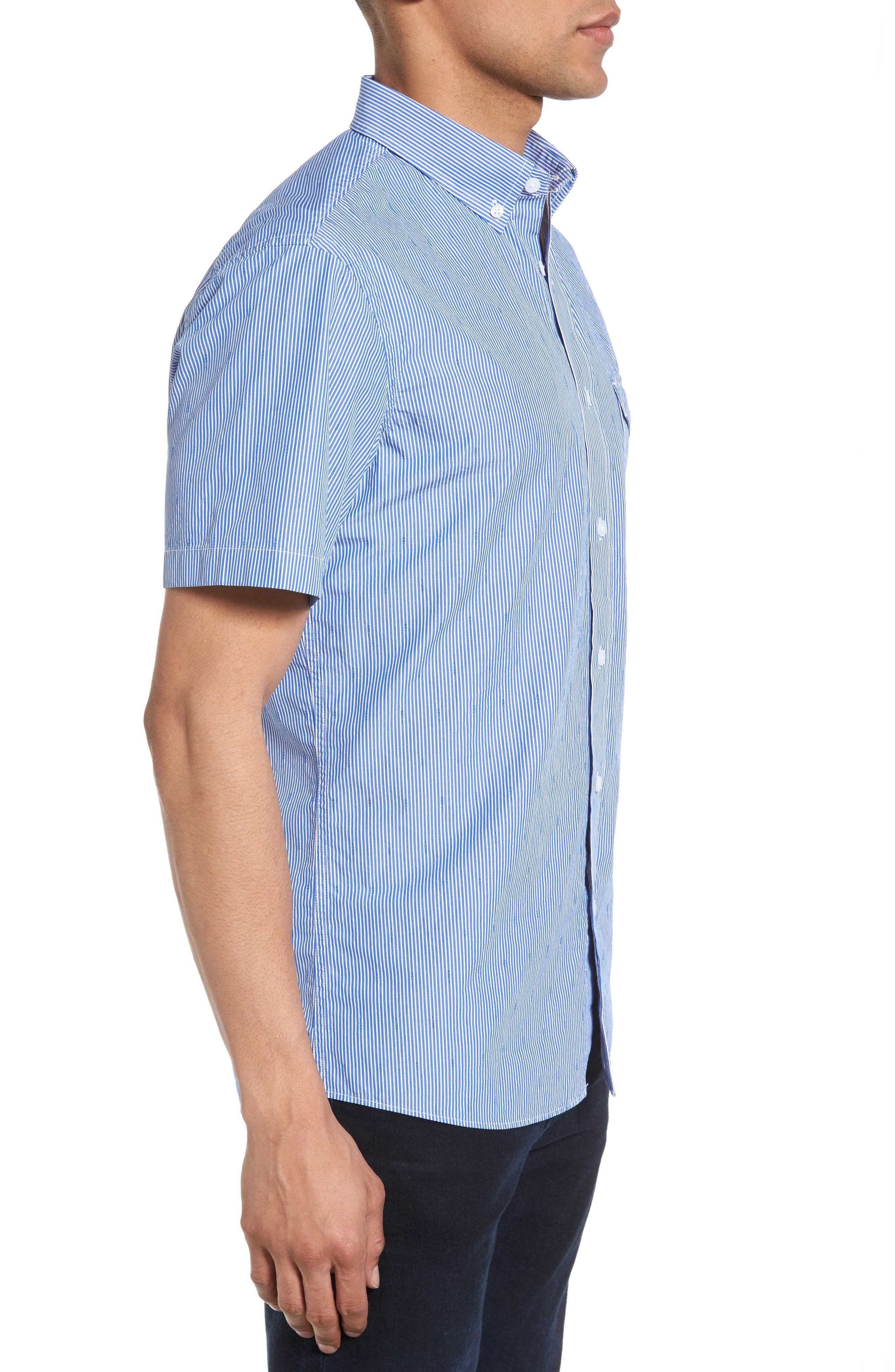Slim Fit Stripe Sport Shirt,                             Alternate thumbnail 3, color,