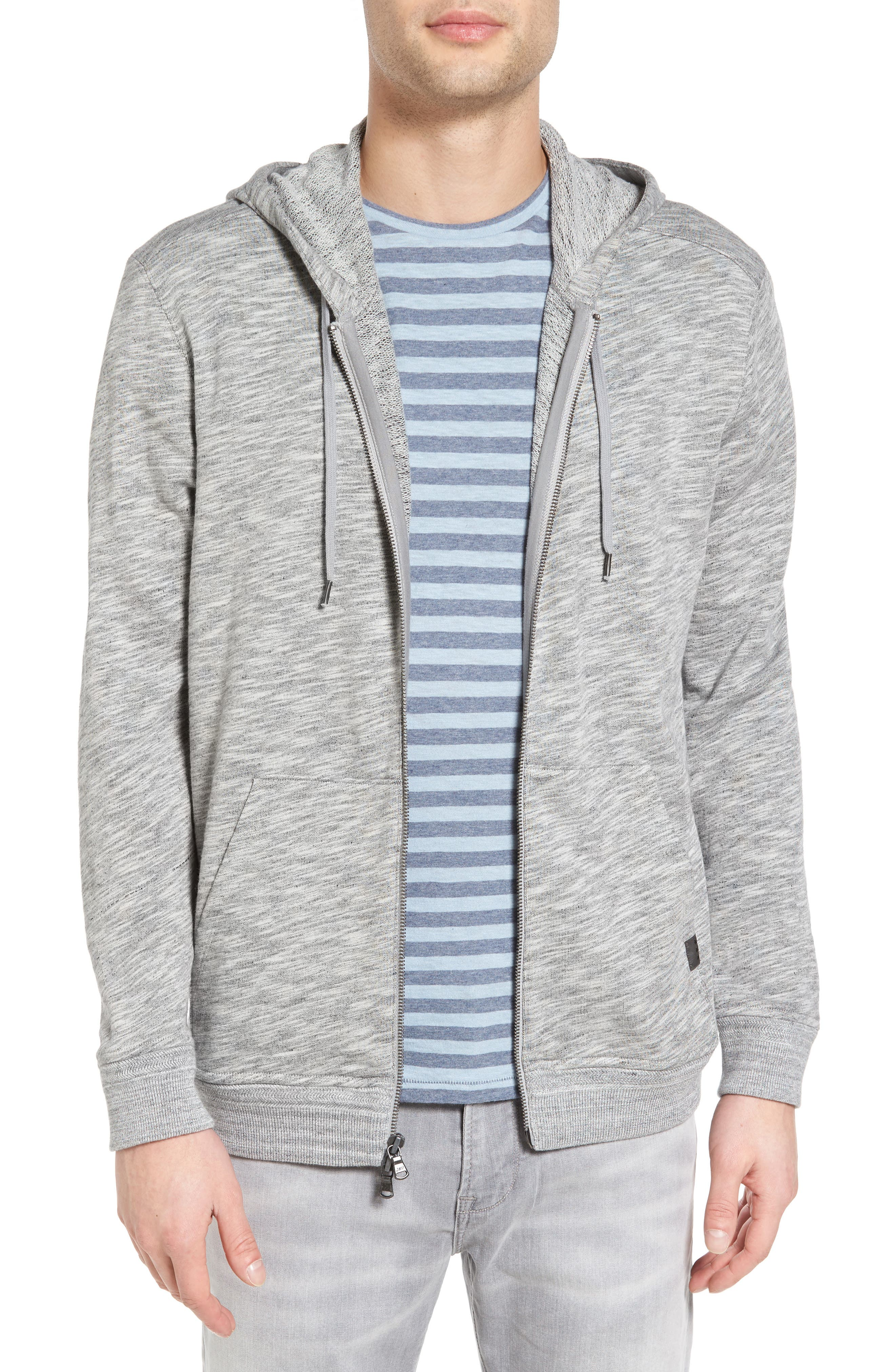 Mélange Cotton Zip Front Hoodie,                         Main,                         color,