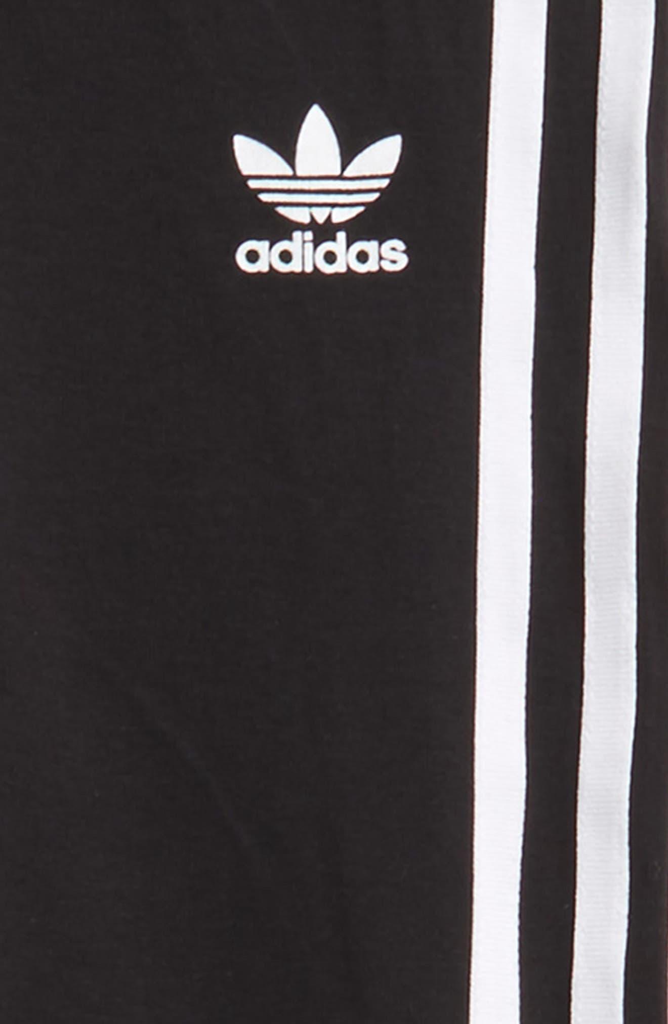 adidas 3-Stripes Leggings,                             Alternate thumbnail 2, color,                             BLACK / WHITE