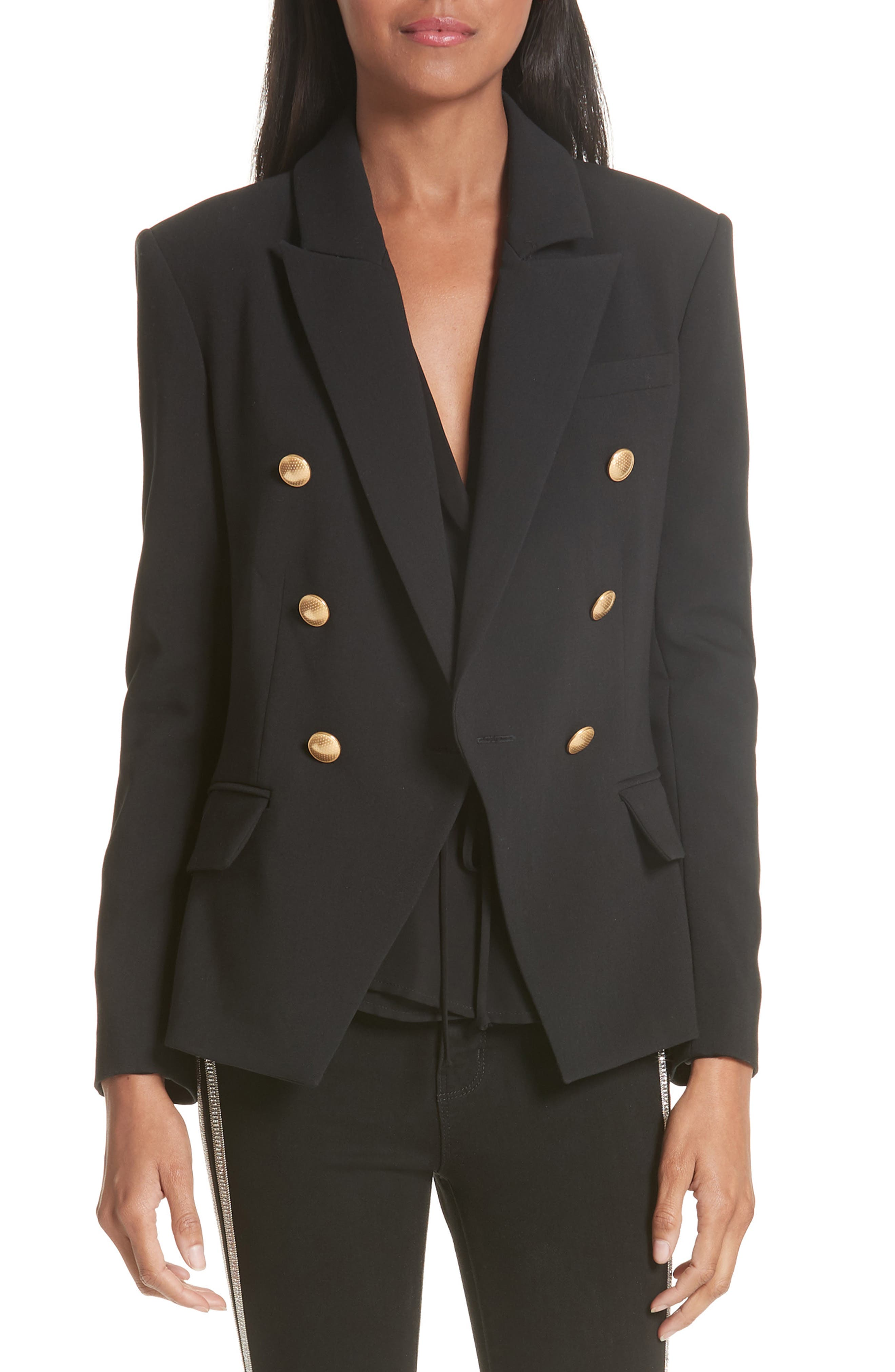 Kenzie Double Breasted Blazer,                             Main thumbnail 1, color,                             BLACK