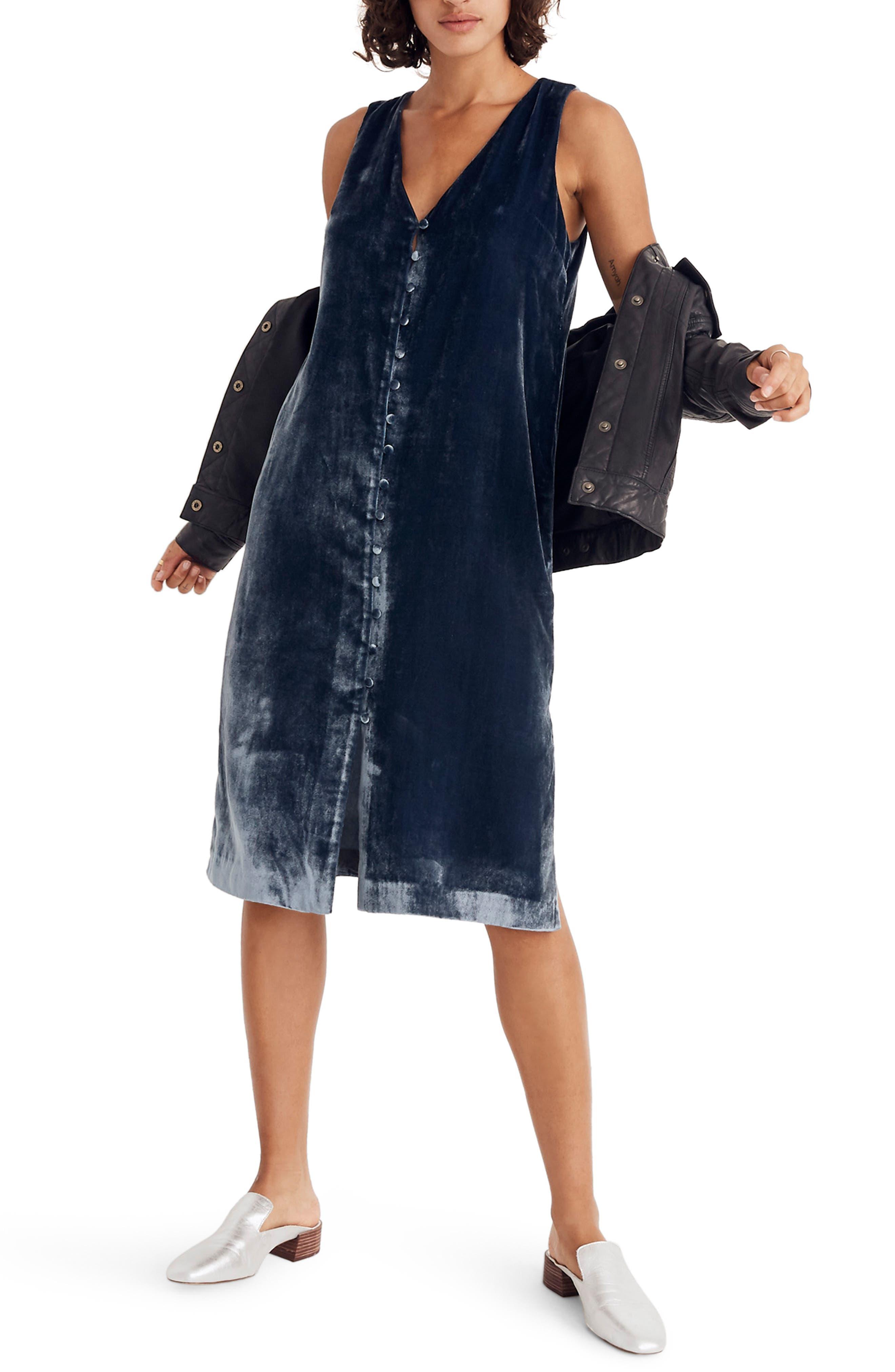 Velvet Button Front Midi Dress,                         Main,                         color, 400