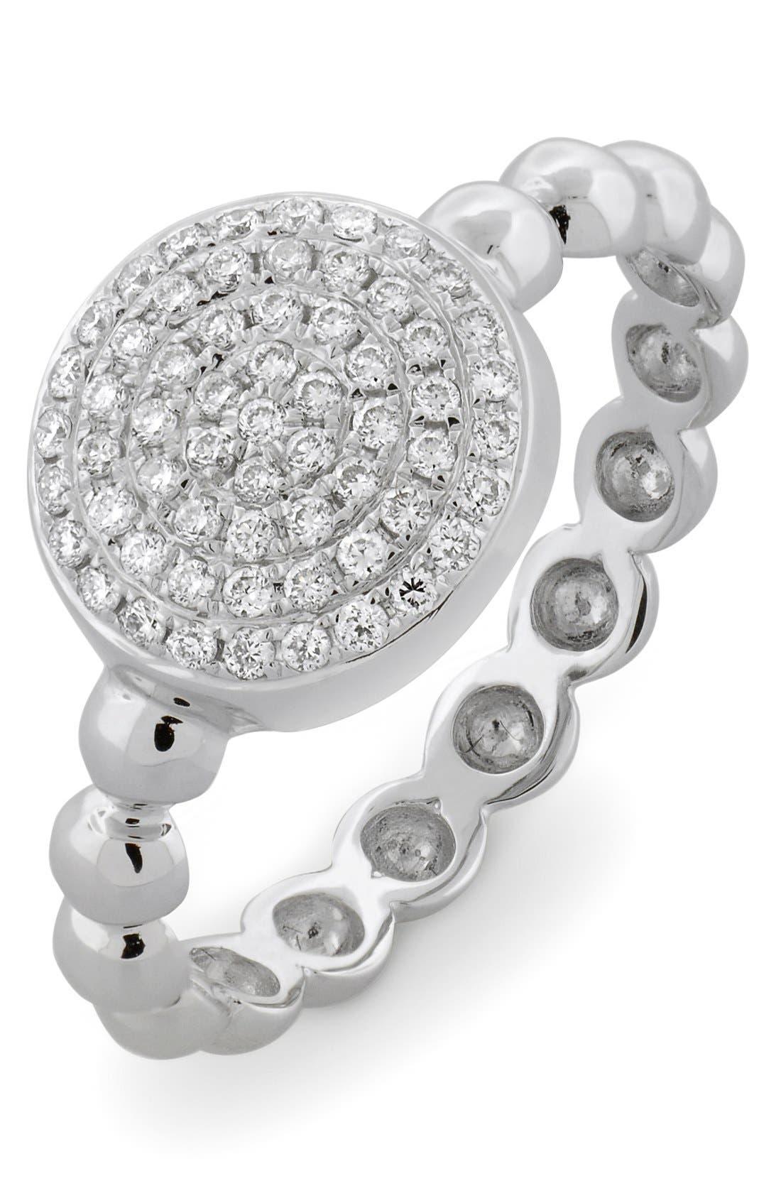 Aurora Diamond Pavé Circle Ring,                         Main,                         color, WHITE GOLD
