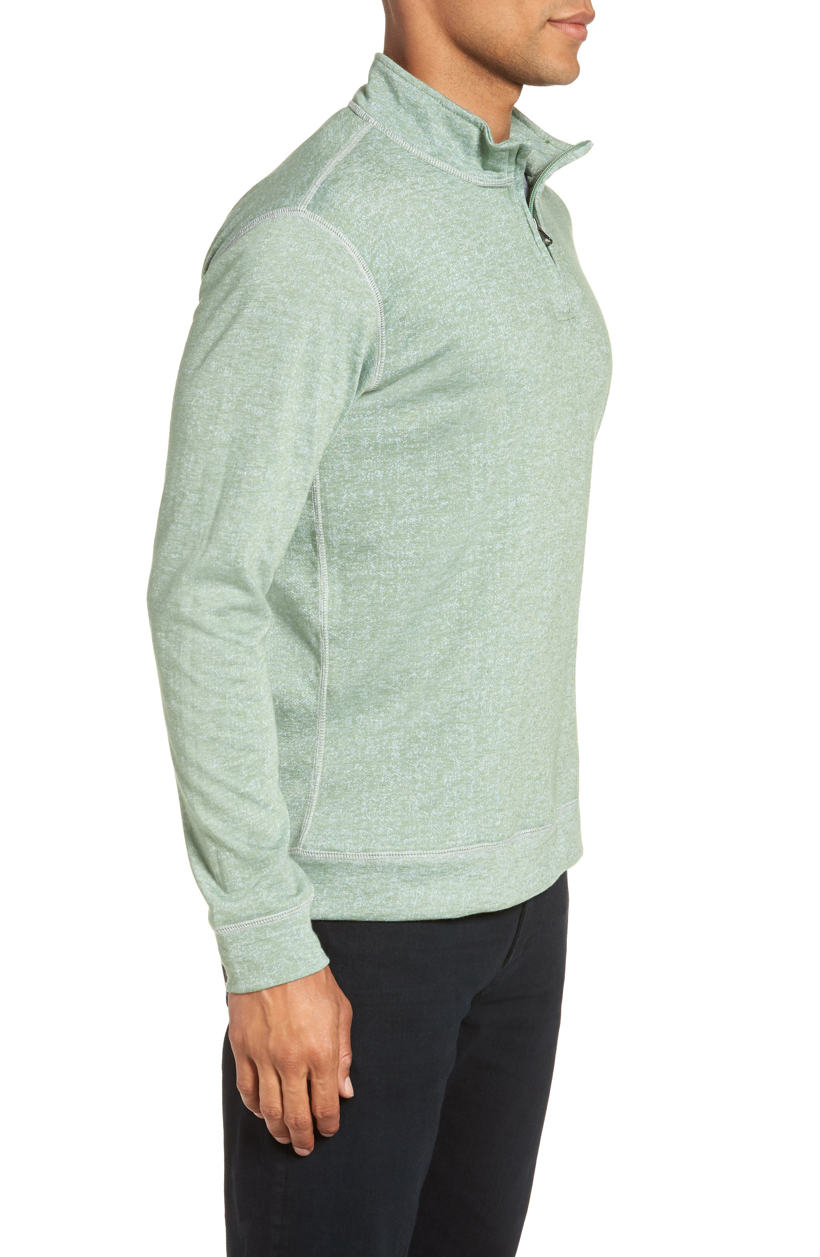 French Terry Quarter Zip Shirt,                             Alternate thumbnail 3, color,                             HEDGE