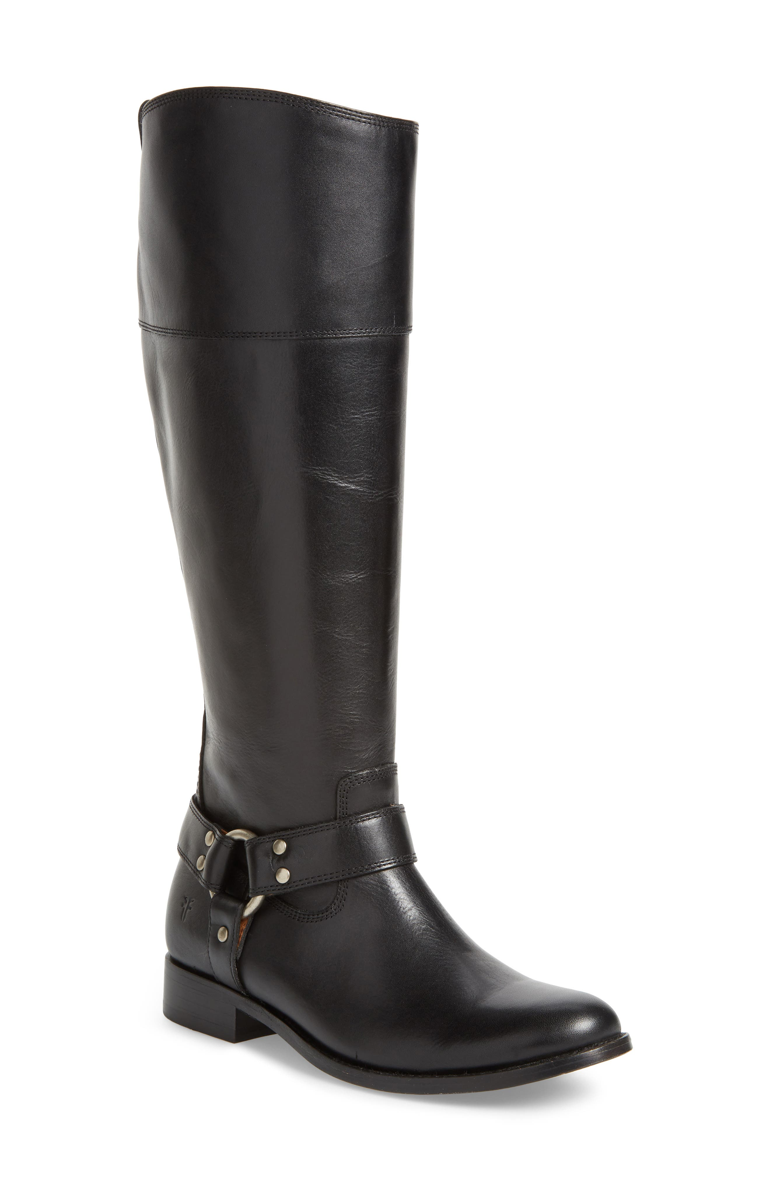Melissa Knee High Boot,                             Main thumbnail 1, color,                             BLACK LEATHER