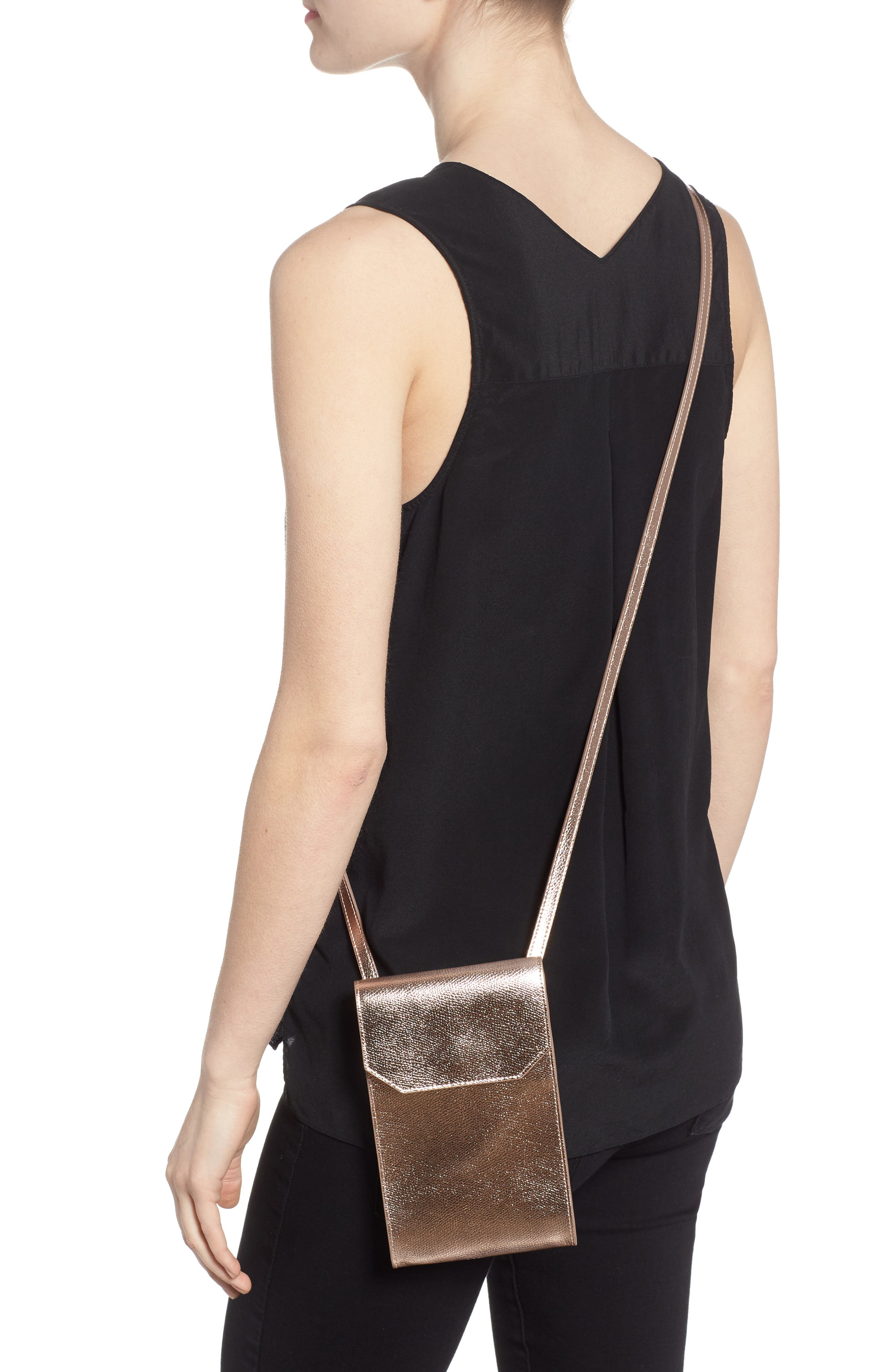 Metallic Leather Phone Crossbody Bag,                             Alternate thumbnail 2, color,                             220