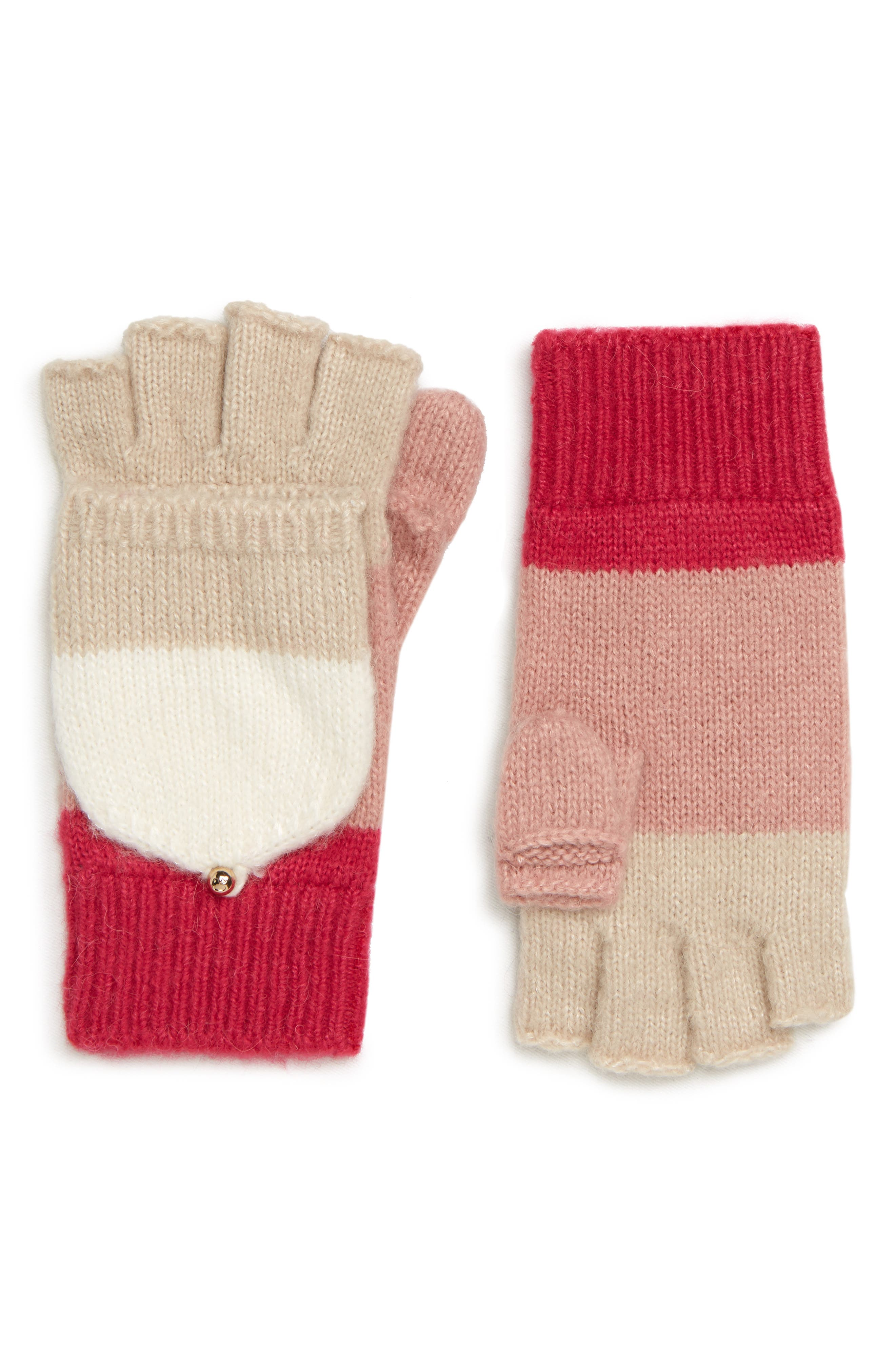 brushed knit colorblock convertible mittens,                             Main thumbnail 1, color,                             CREAM/ OATMEAL/ PEONY/ BEGONIA