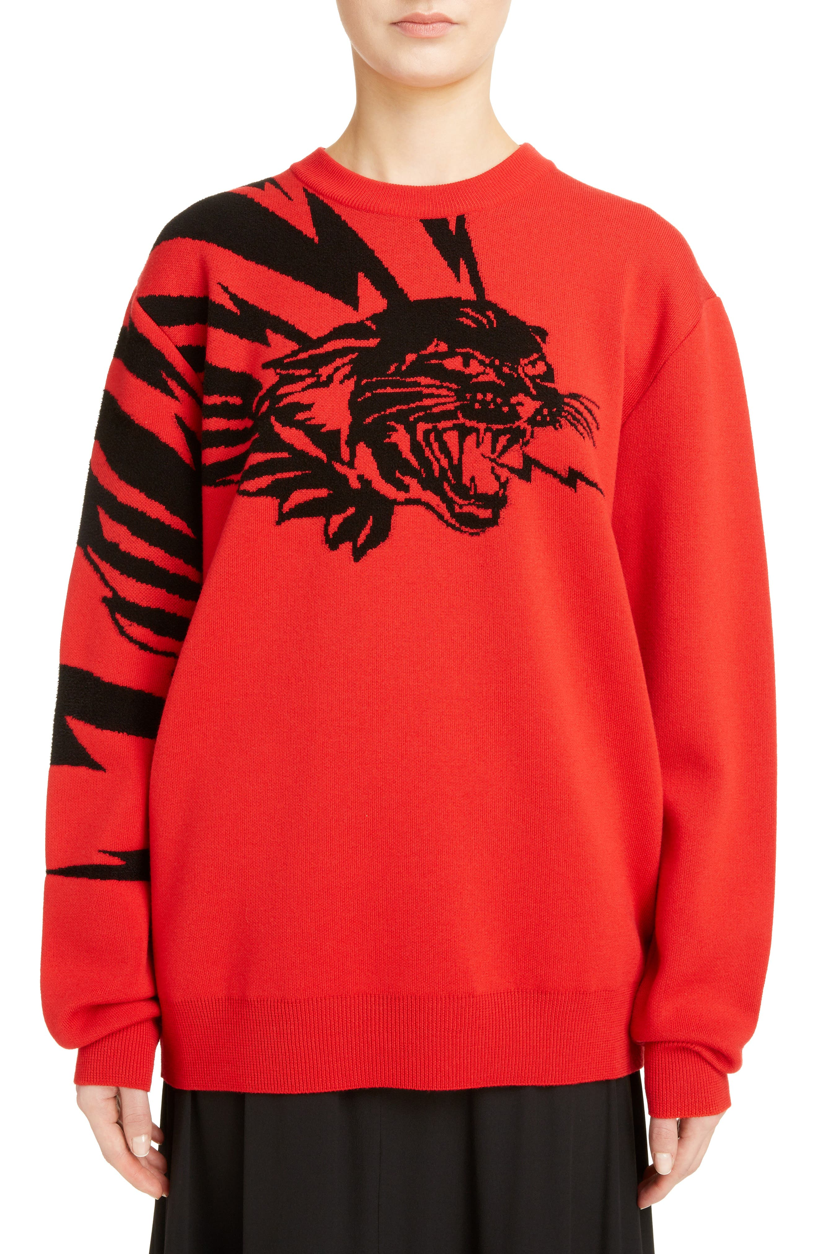 Tiger Wool Jacquard Sweater,                             Main thumbnail 1, color,                             RED/ BLACK