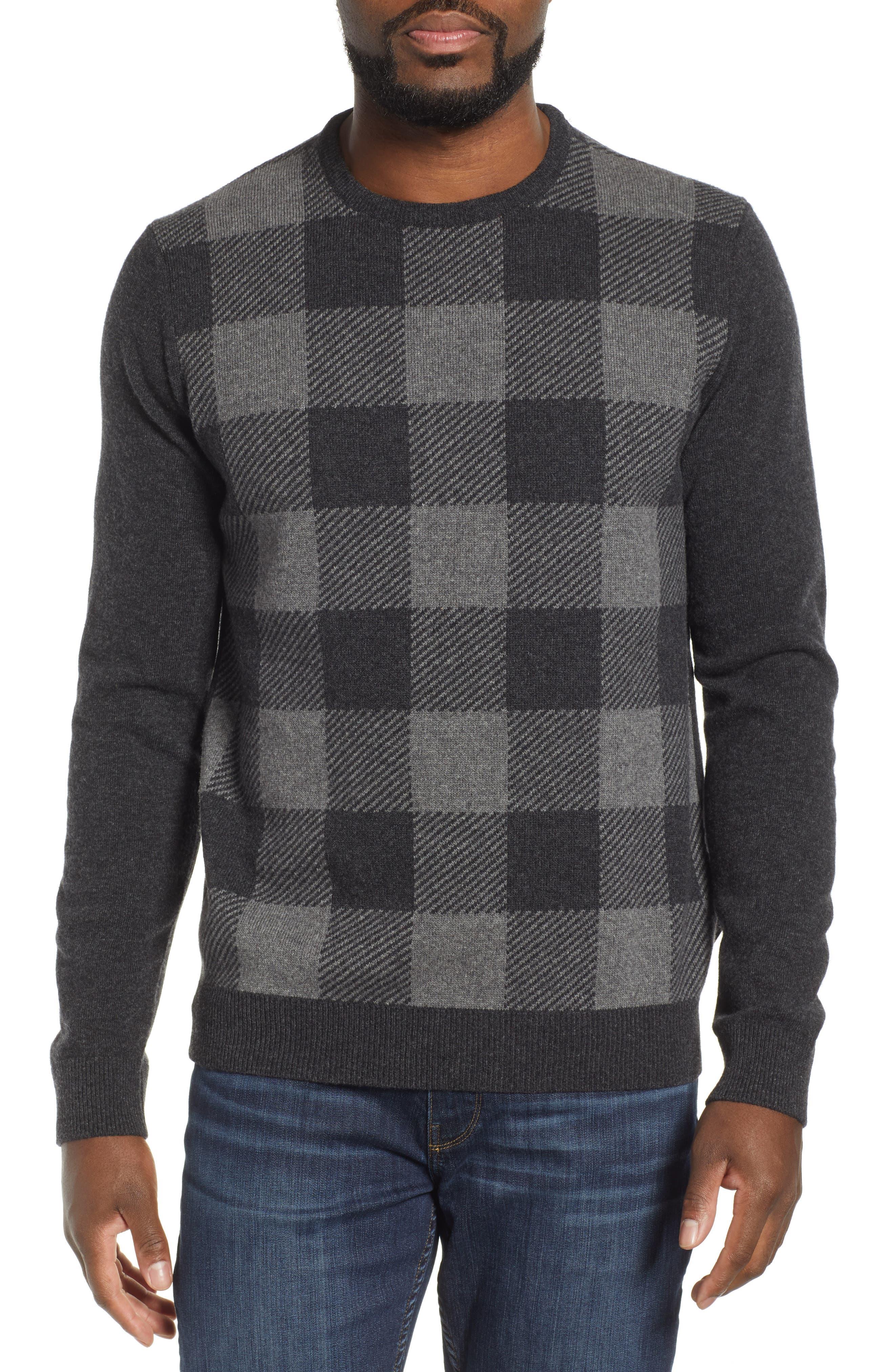 Barbour Buffalo Check Crewneck Sweater, Grey