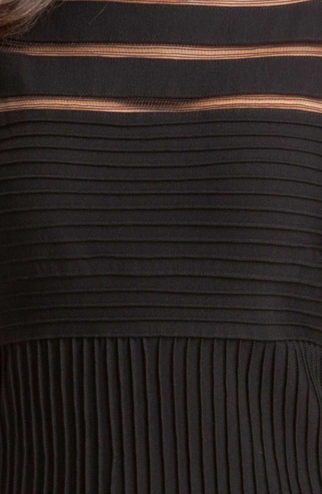 Sleeveless Mesh Stripe Jersey Dress,                             Alternate thumbnail 3, color,                             001