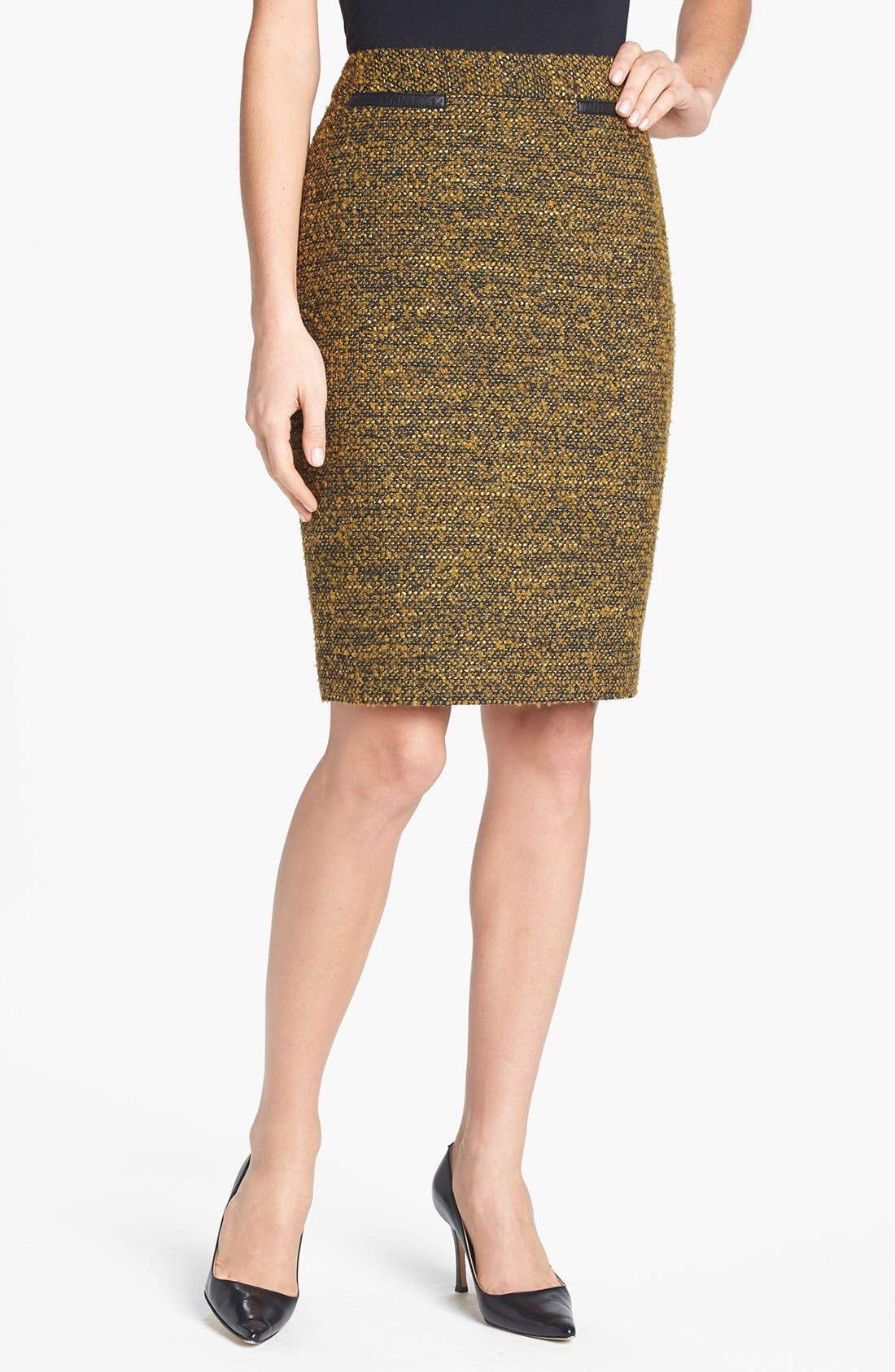 CLASSIQUES ENTIER<SUP>®</SUP> 'Kane Weave' Bouclé Skirt, Main, color, 001